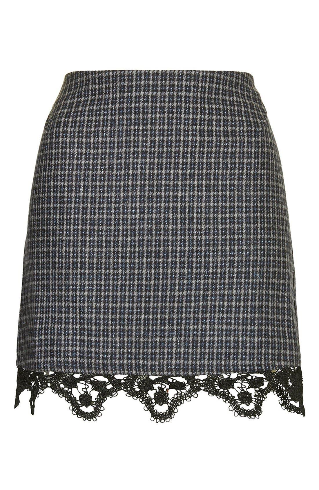 Alternate Image 3  - Topshop Tweed Lace Miniskirt