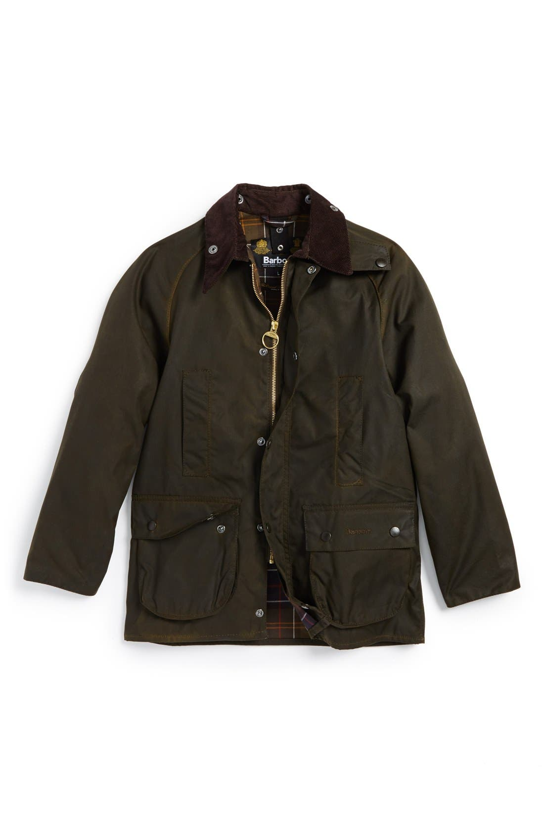 Main Image - Barbour 'Classic Beaufort' Waterproof Waxed Cotton Jacket (Big Boys)
