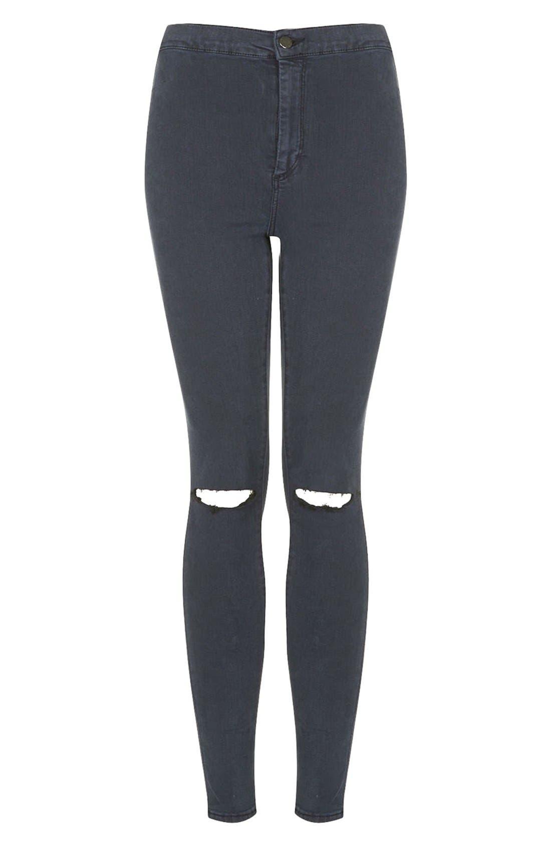Alternate Image 3  - Topshop Moto 'Joni' Ripped Jeans (Blue) (Regular & Short)