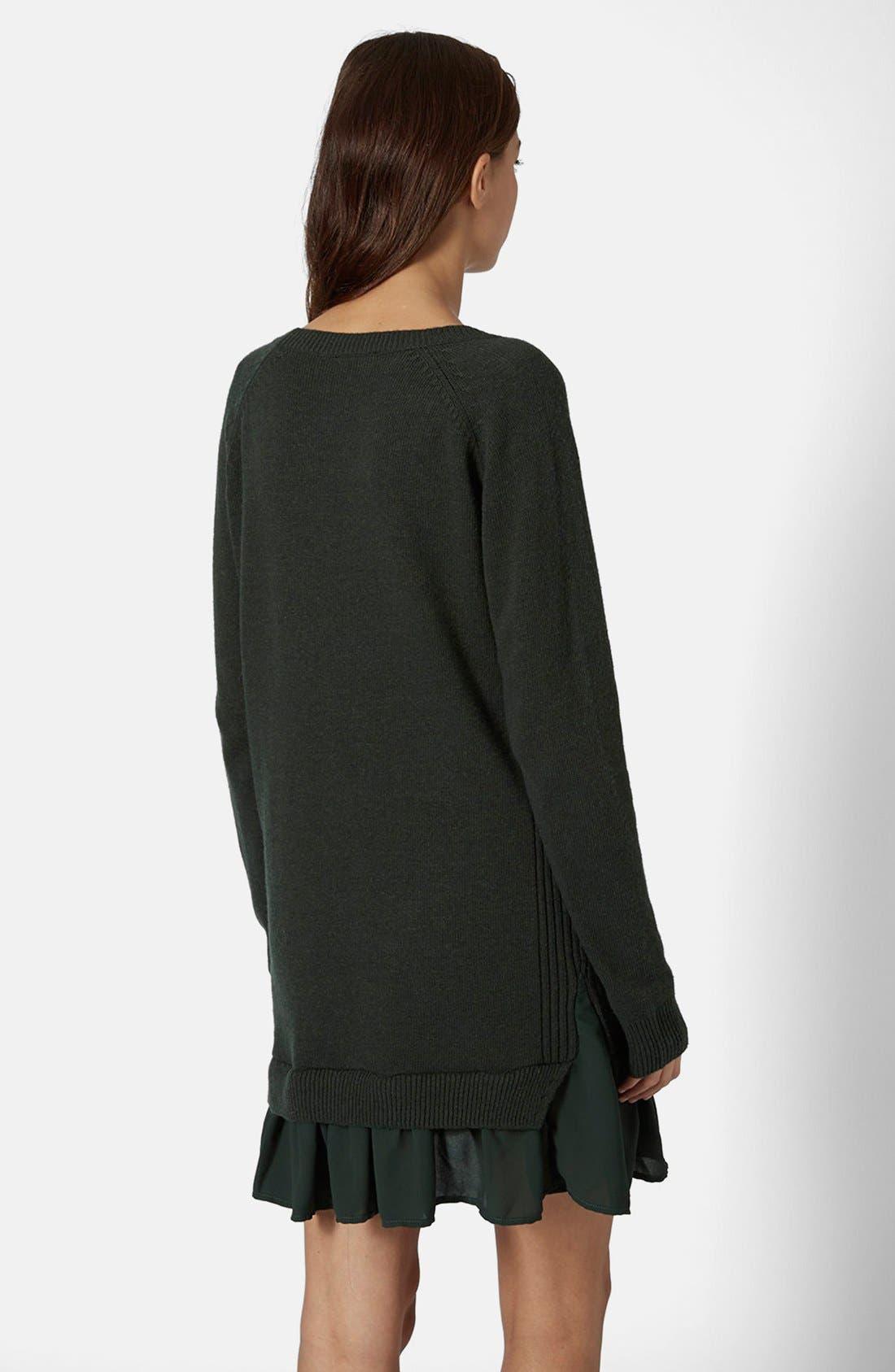Alternate Image 2  - Topshop Woven Hem V-Neck Sweater Dress
