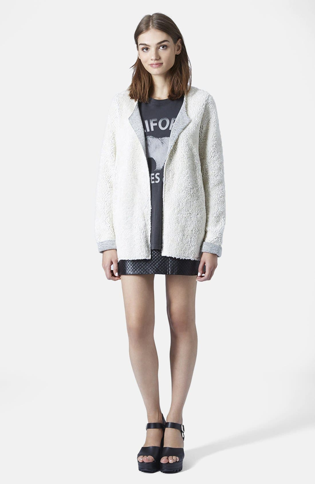 Alternate Image 5  - Topshop Faux Shearling Open Front Cardigan