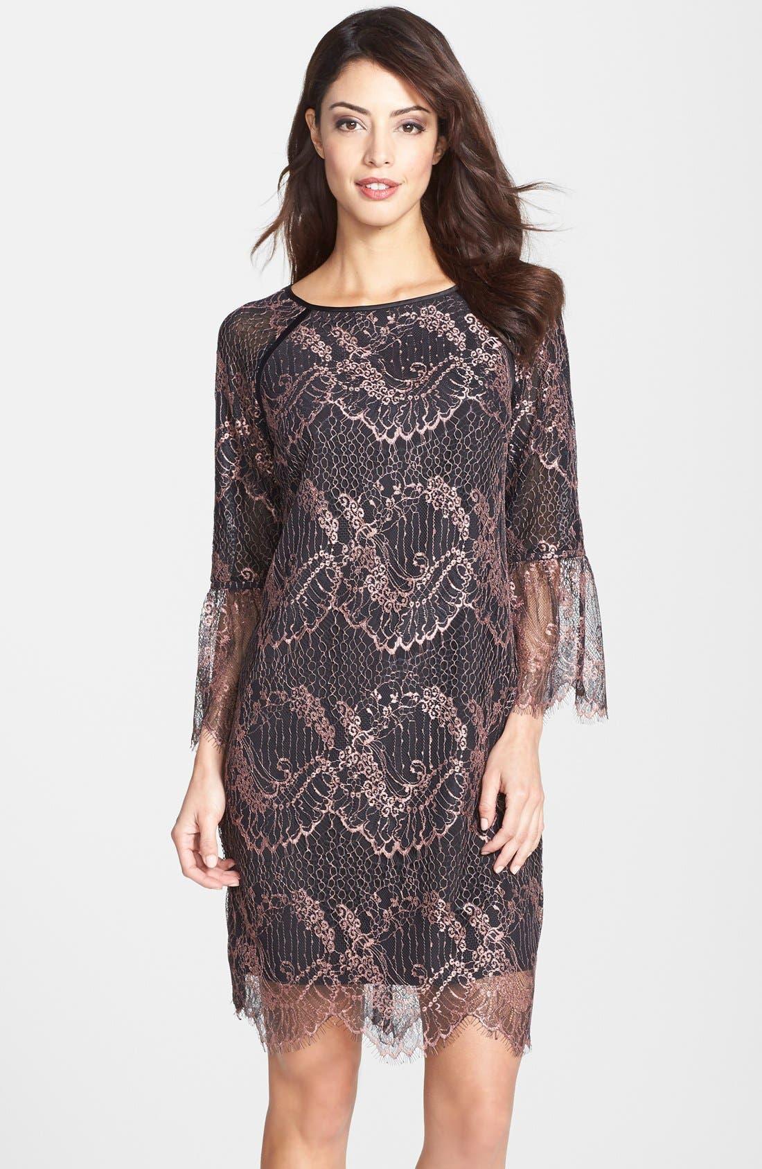 Main Image - Adrianna Papell Metallic Scalloped Lace Shift Dress