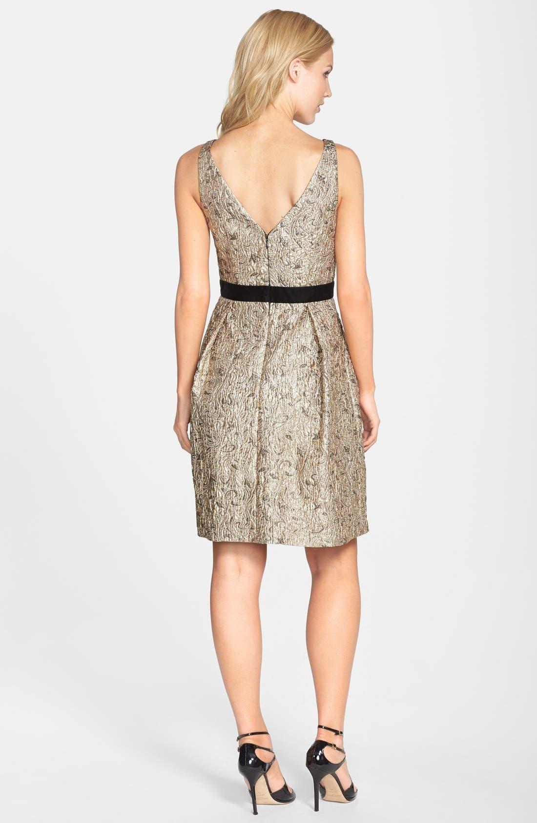 Alternate Image 2  - Aidan Mattox Embellished Waist Jacquard Fit & Flare Dress