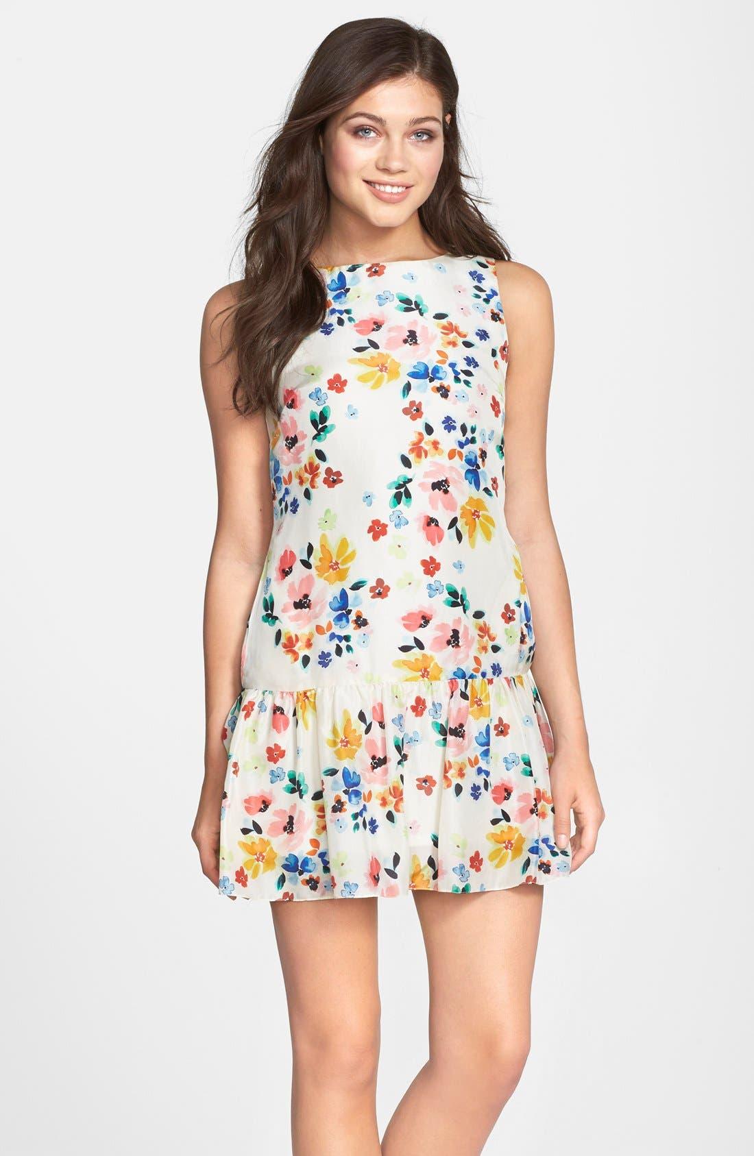 Alternate Image 3  - CeCe by Cynthia Steffe Floral Print Drop Waist Dress (Regular & Petite)