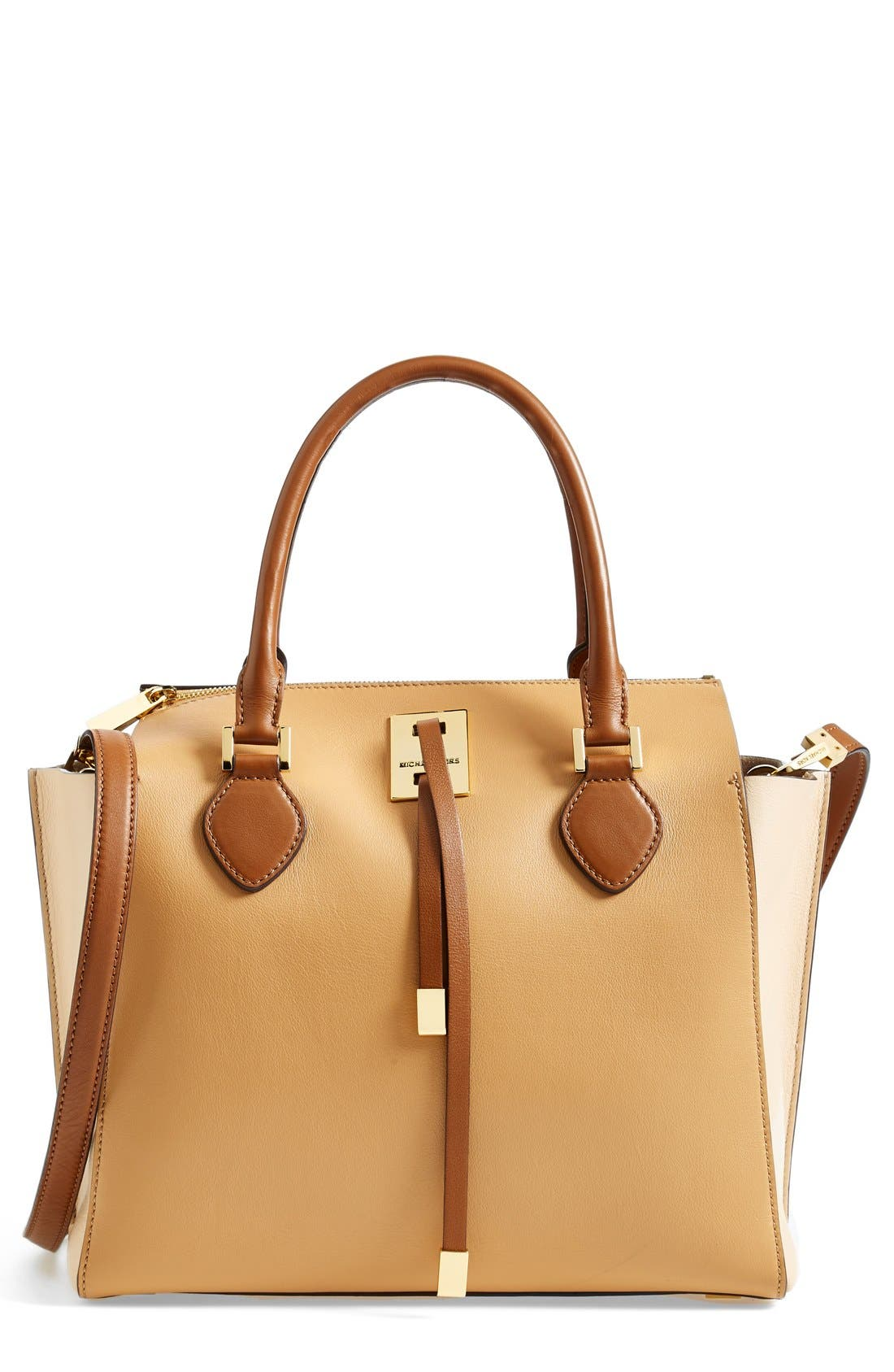 Alternate Image 1 Selected - Michael Kors 'Miranda' Colorblock Leather Satchel