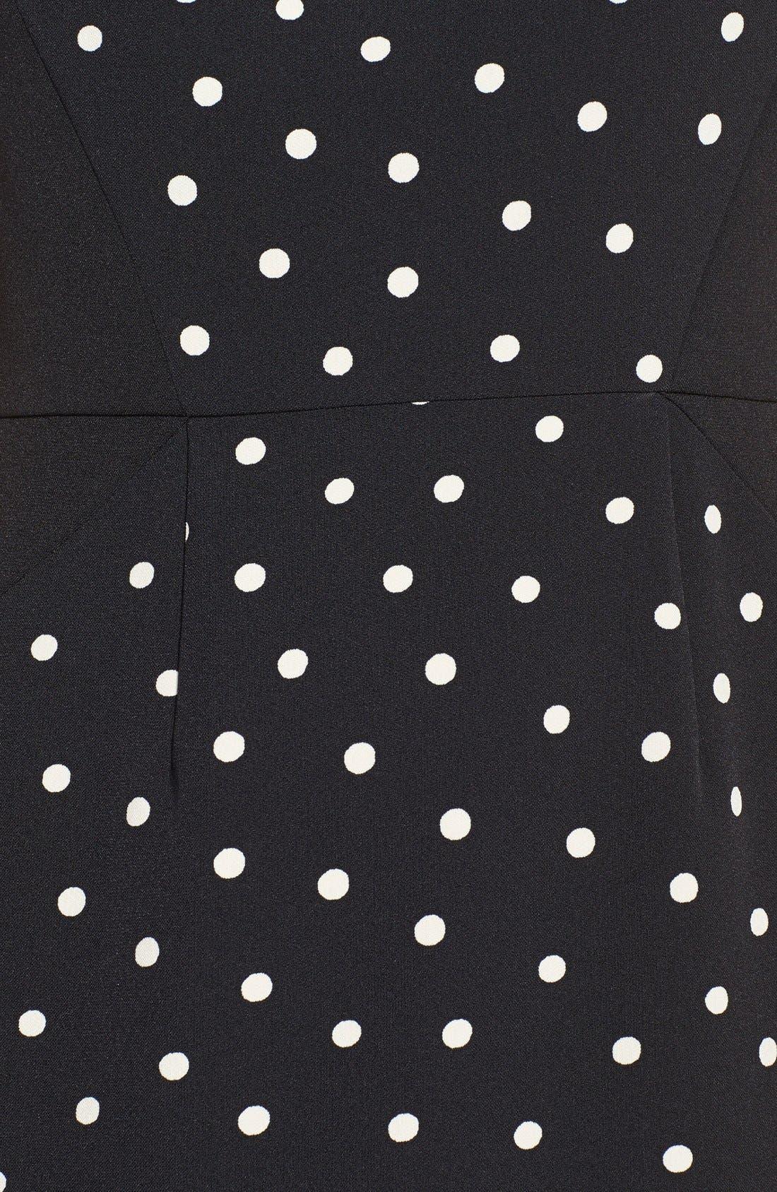 Alternate Image 4  - Adrianna Papell Polka Dot Pleat Detail Sheath Dress