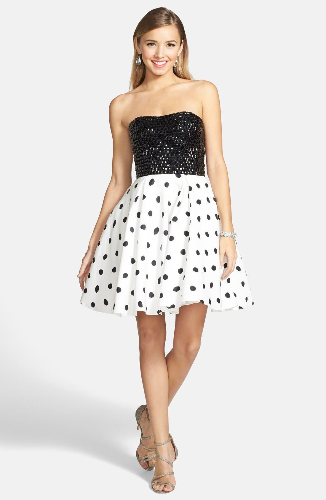 Alternate Image 3  - Sherri Hill Embellished Polka Dot Strapless Fit & Flare Dress
