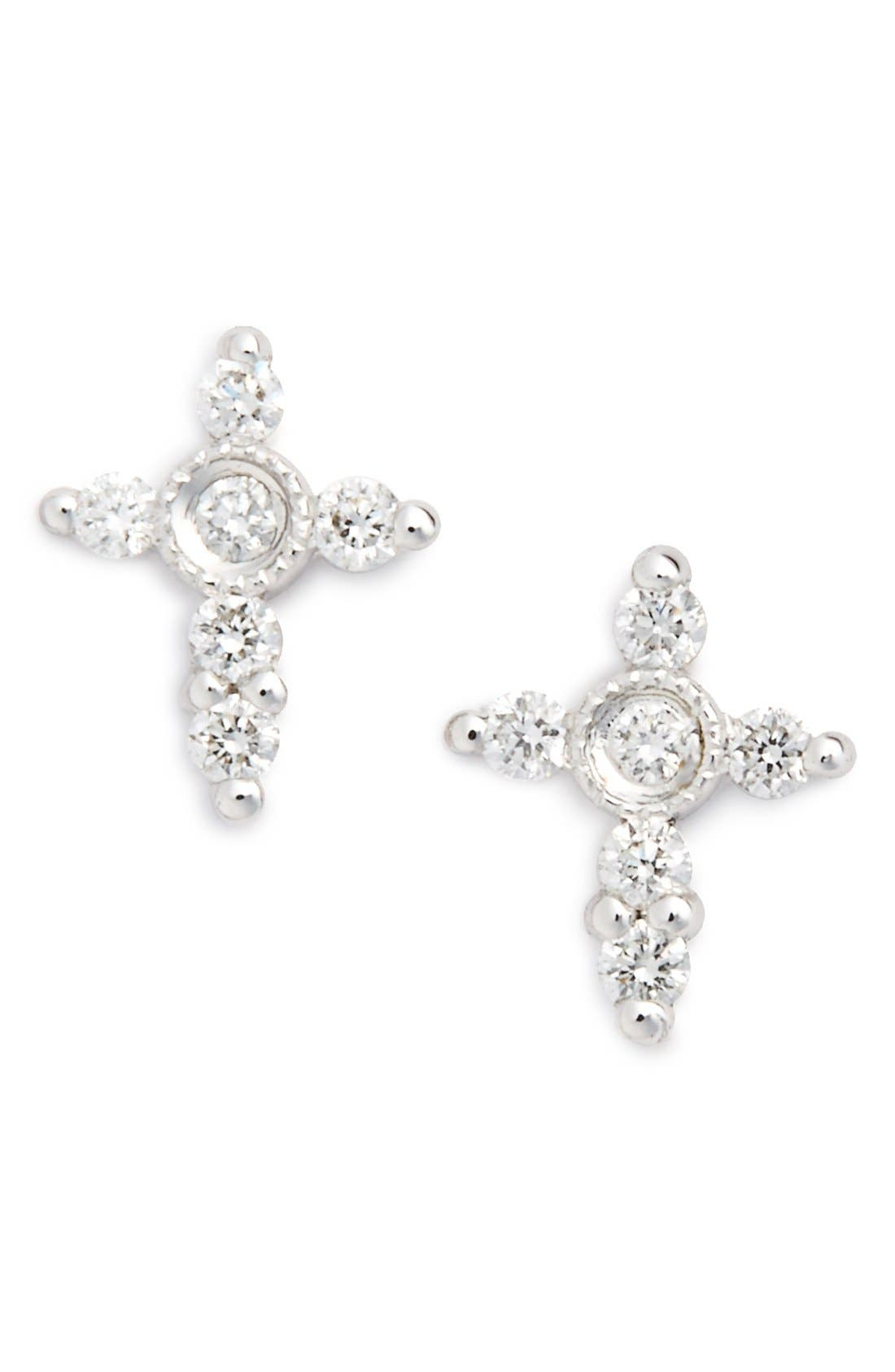 BONY LEVY Simple Obsessions Diamond Cross Stud Earrings