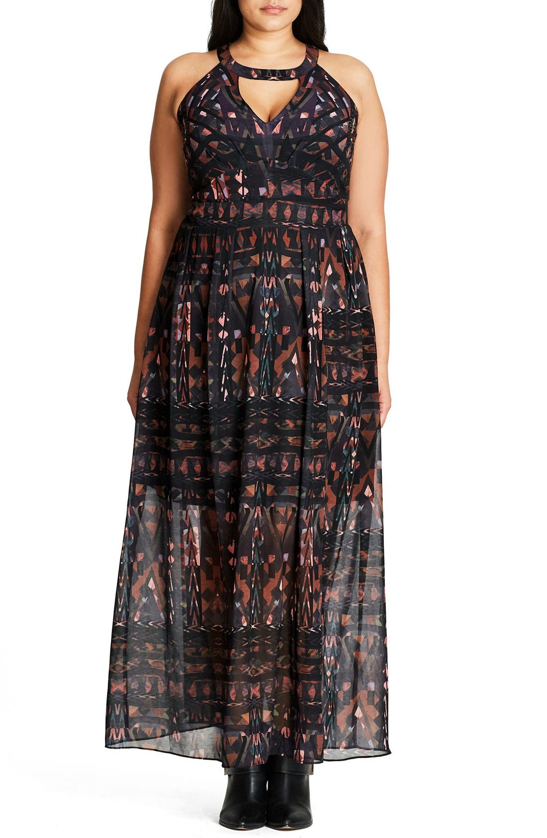 Alternate Image 1 Selected - City Chic So Abstract Cutout Bodice Maxi Dress (Plus Size)