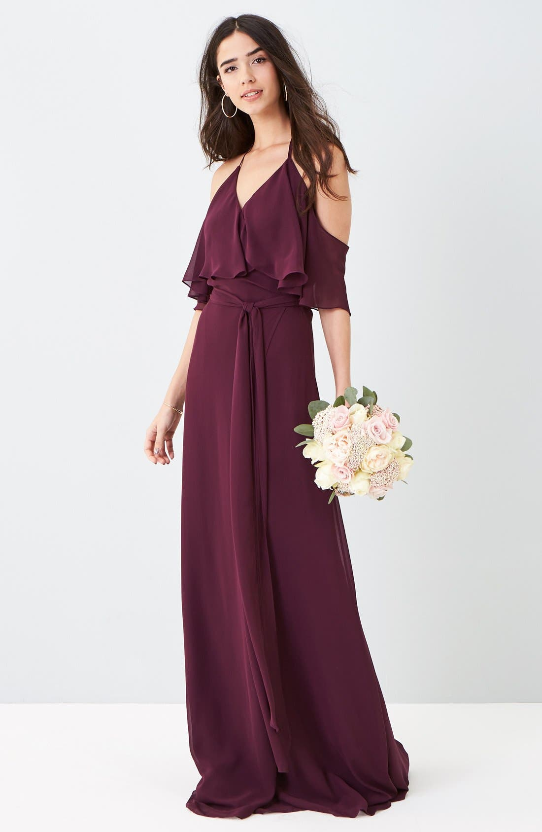 Alternate Image 2  - Ceremony by Joanna August Cold Shoulder Tie Waist Halter Gown