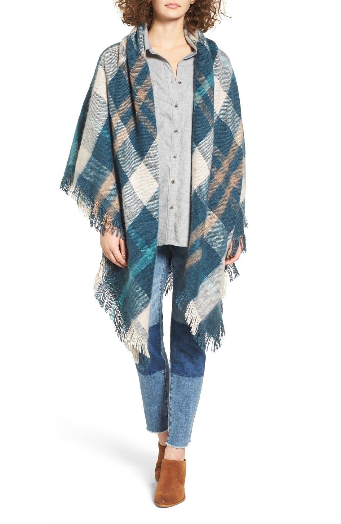 Main Image - Treasure&Bond Plaid Blanket Wrap