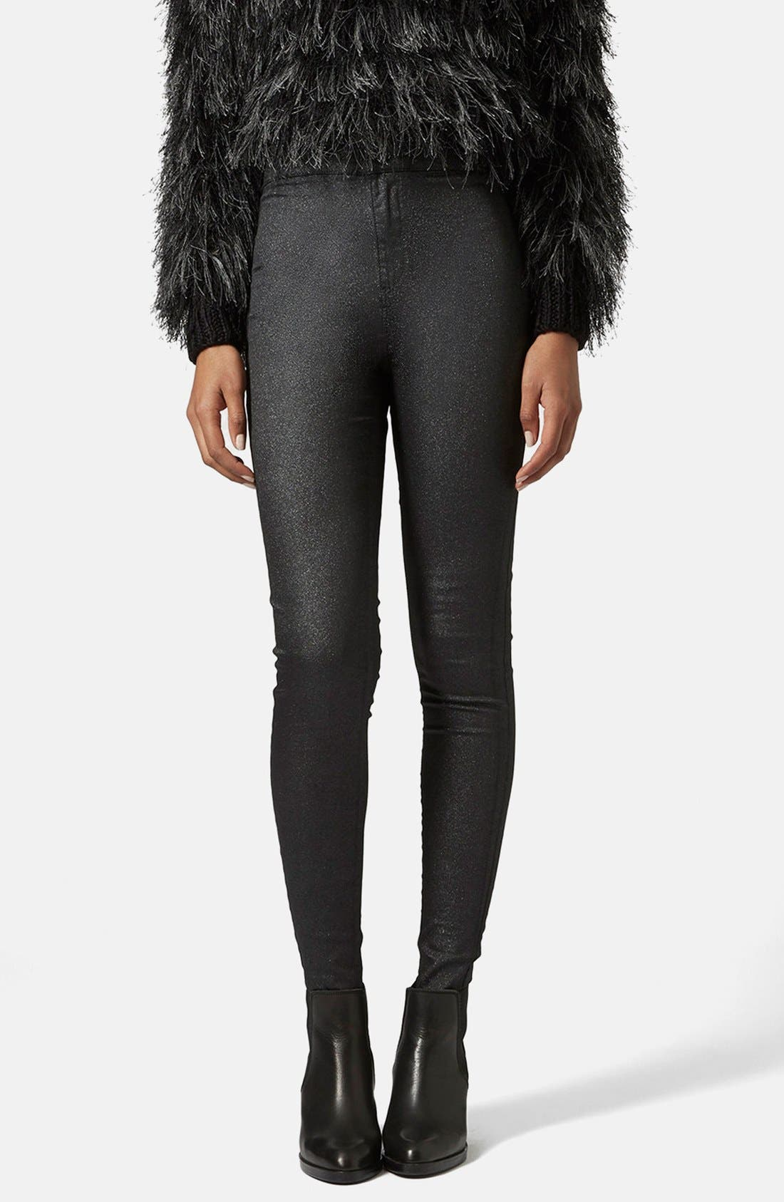 Main Image - Topshop Moto 'Joni' Glitter Skinny Jeans (Black) (Regular, Short & Long)