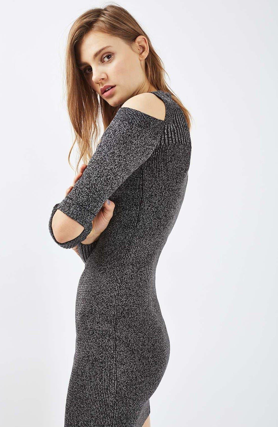 Alternate Image 2  - Topshop Slash Ribbed Sweater Dress