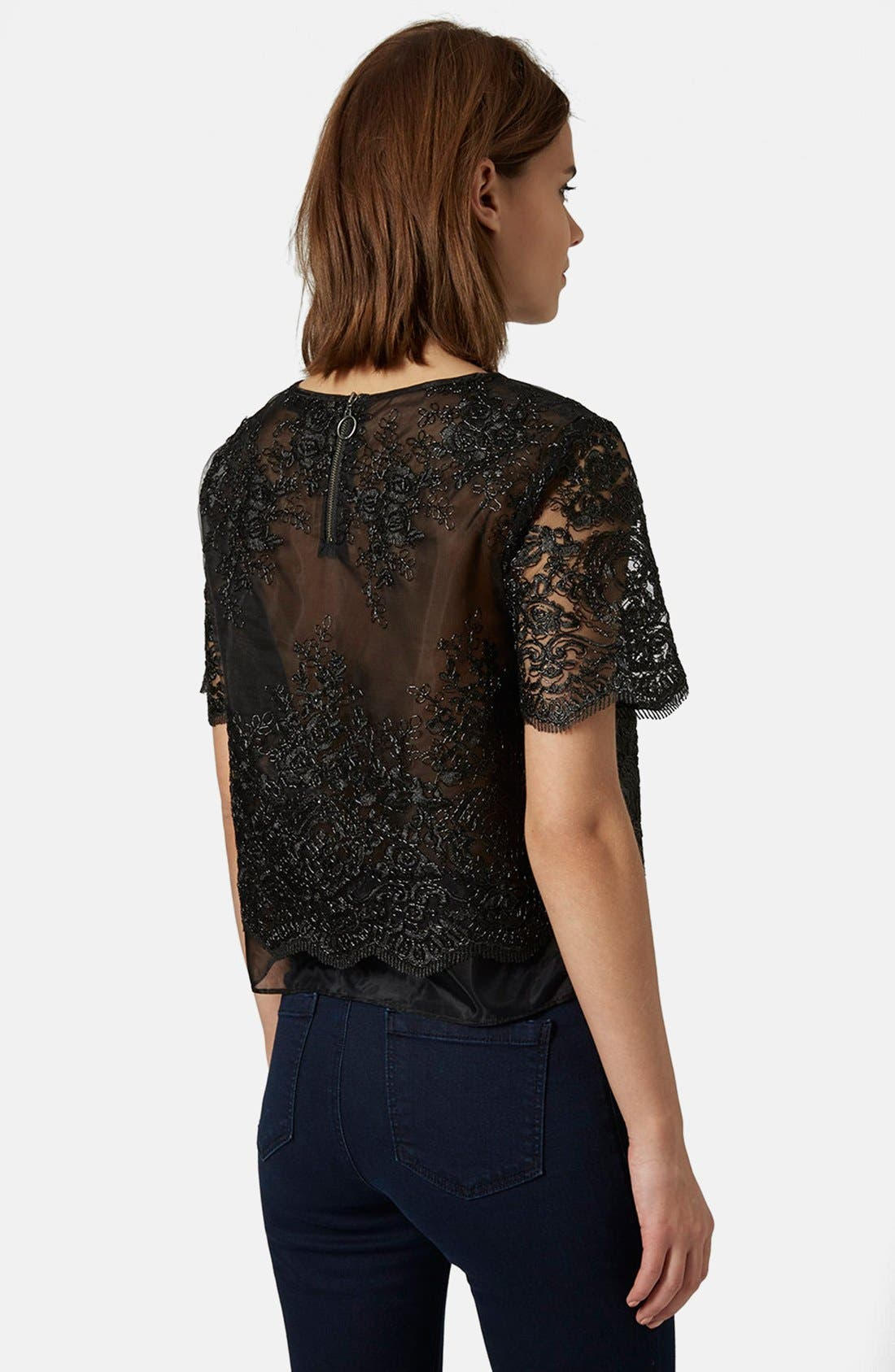 Alternate Image 2  - Topshop Lace Overlay Tee