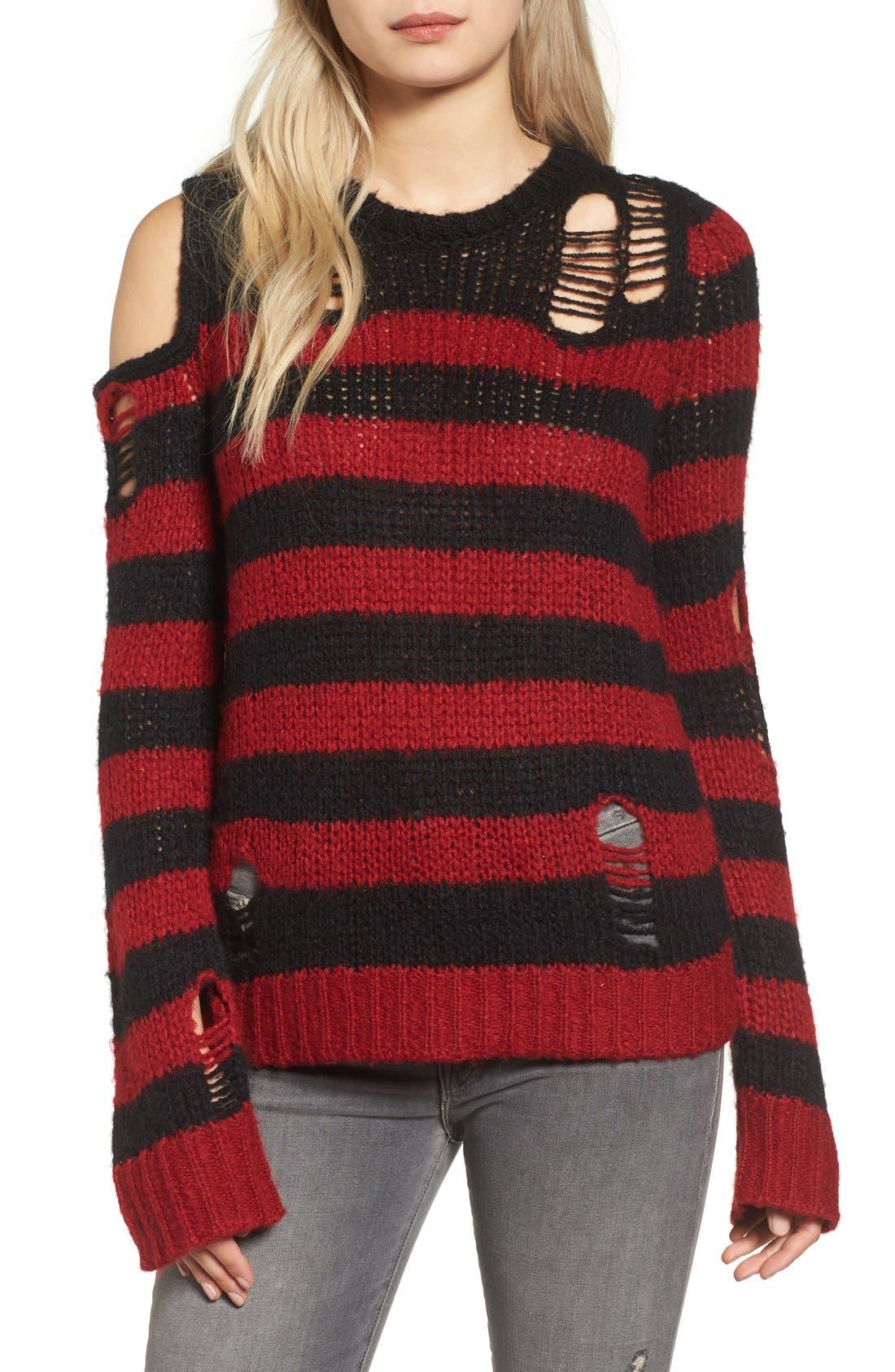 Alternate Image 1 Selected - Pam & Gela Stripe Open Knit Sweater