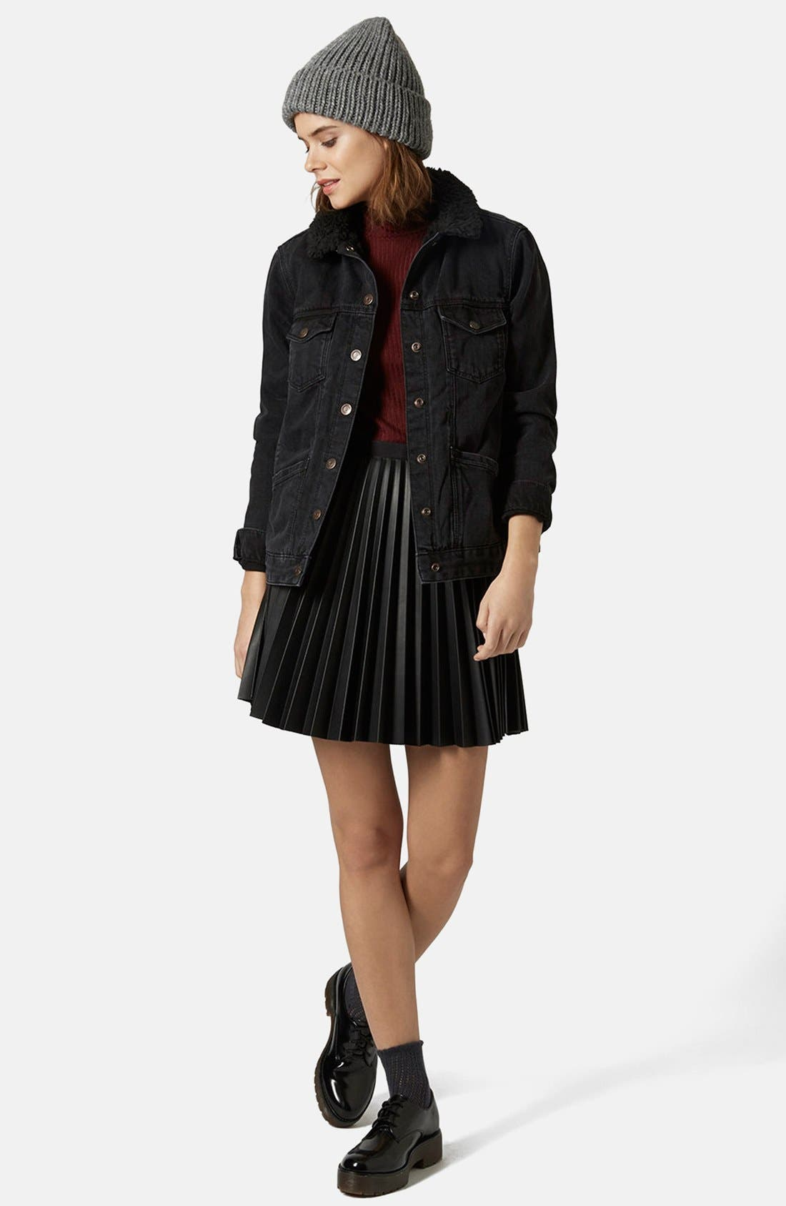 Alternate Image 5  - Topshop Denim Jacket with Faux Shearling Collar