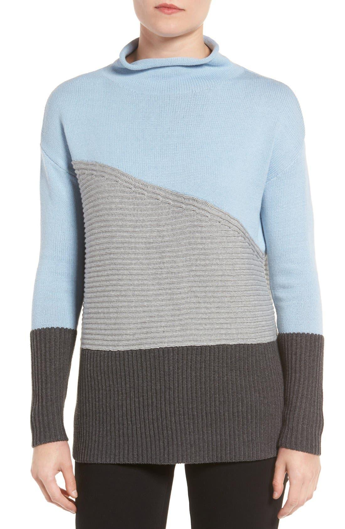 Main Image - Vince Camuto Colorblock Turtleneck Sweater (Regular & Petite)