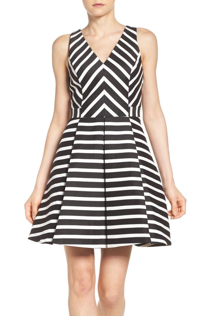 Adelyn Rae Stripe Fit Amp Flare Dress Nordstrom