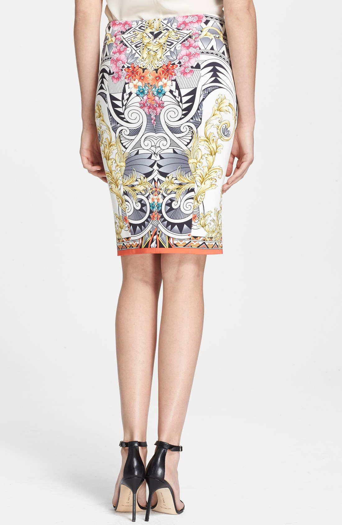 Alternate Image 2  - Versace Collection Floral Print Jersey Skirt