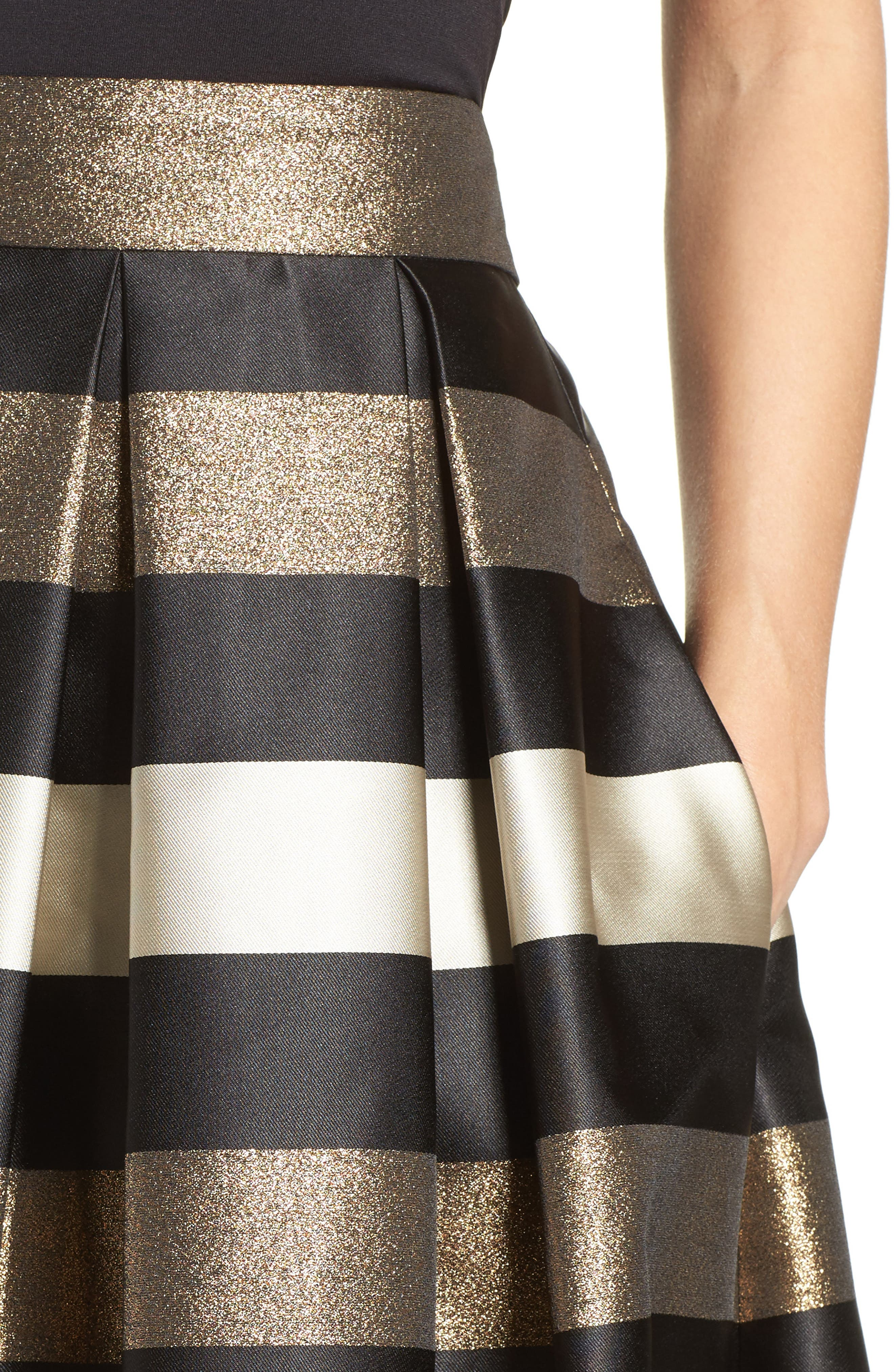 Alternate Image 5  - Eliza J Metallic Stripe Ball Skirt