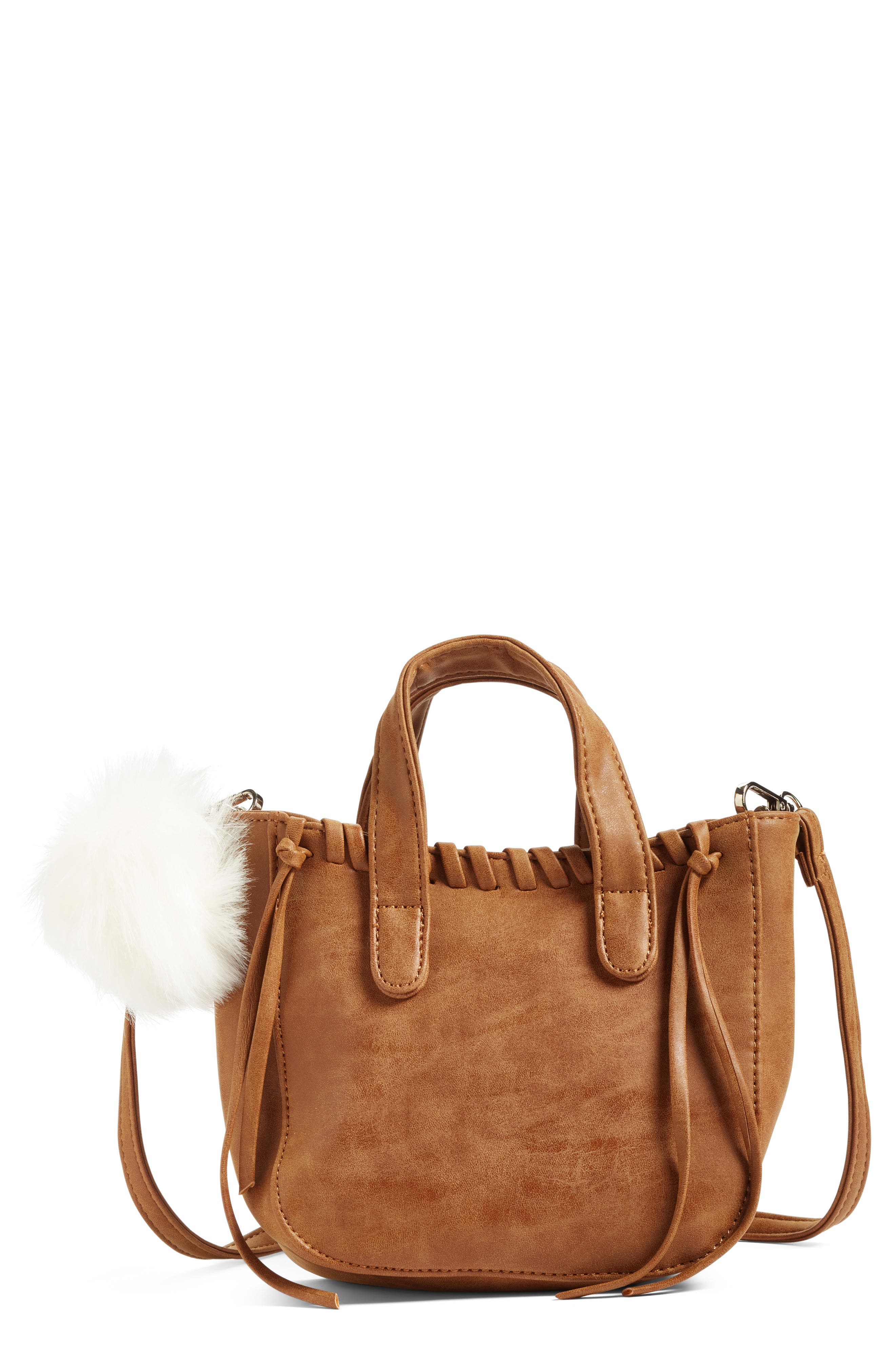 Alternate Image 1 Selected - OMG Faux Leather Shoulder Bag with Faux Fur Bag Charm (Special Purchase)