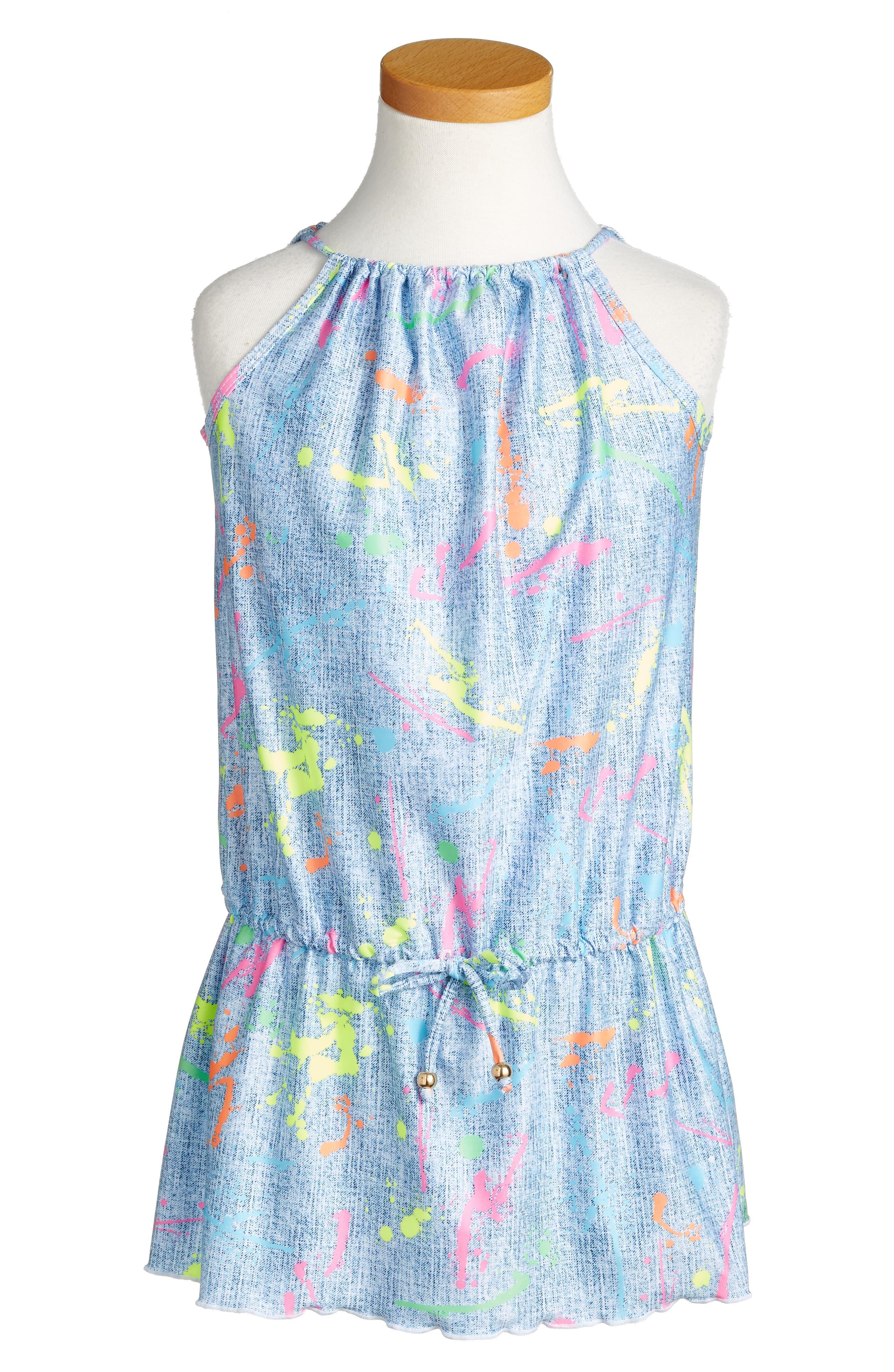 PILYQ Little Aurora Paint Splatter Cover-Up Dress