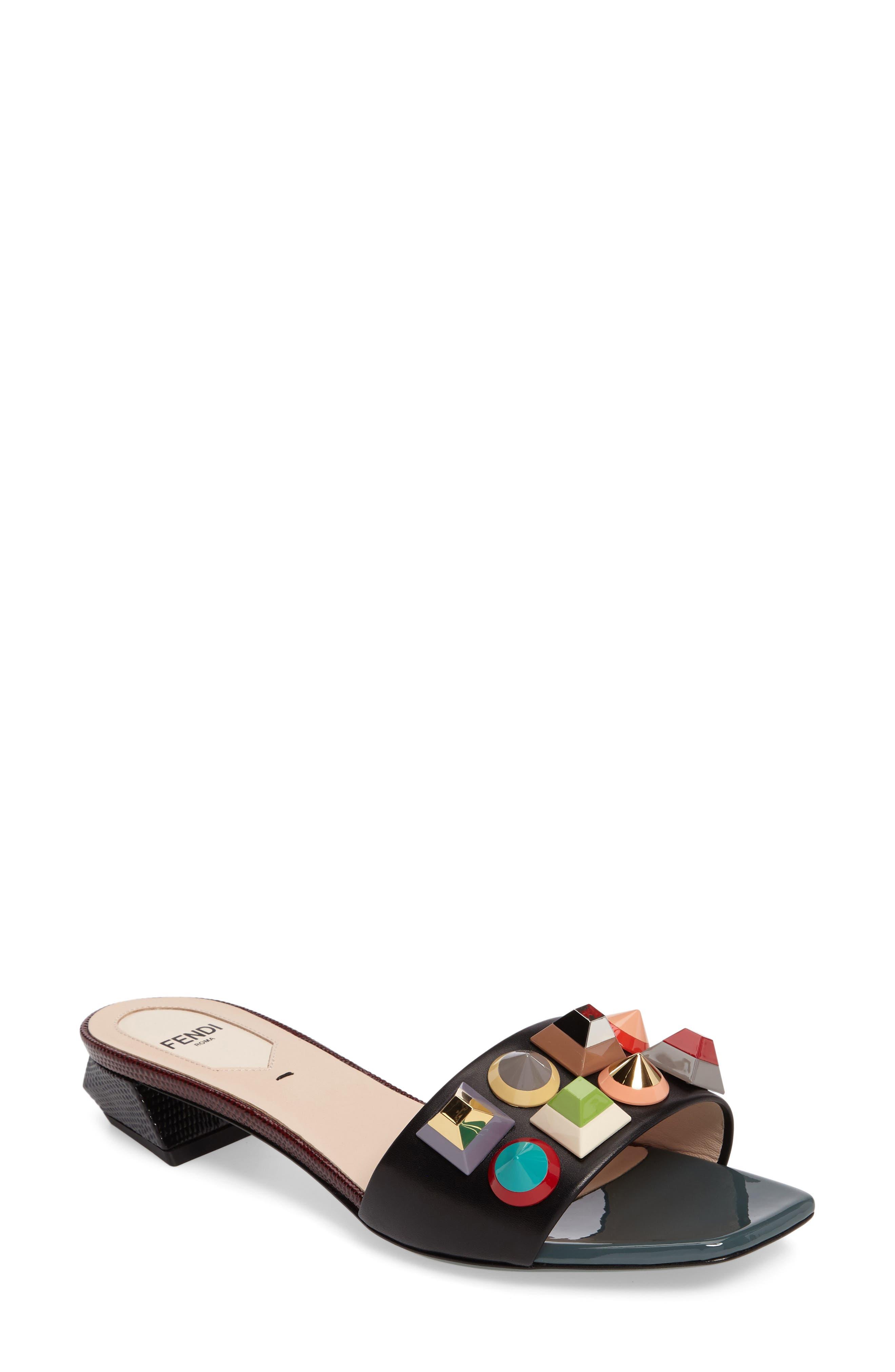 Alternate Image 1 Selected - Fendi Stud Rainbow Slide Sandal (Women)