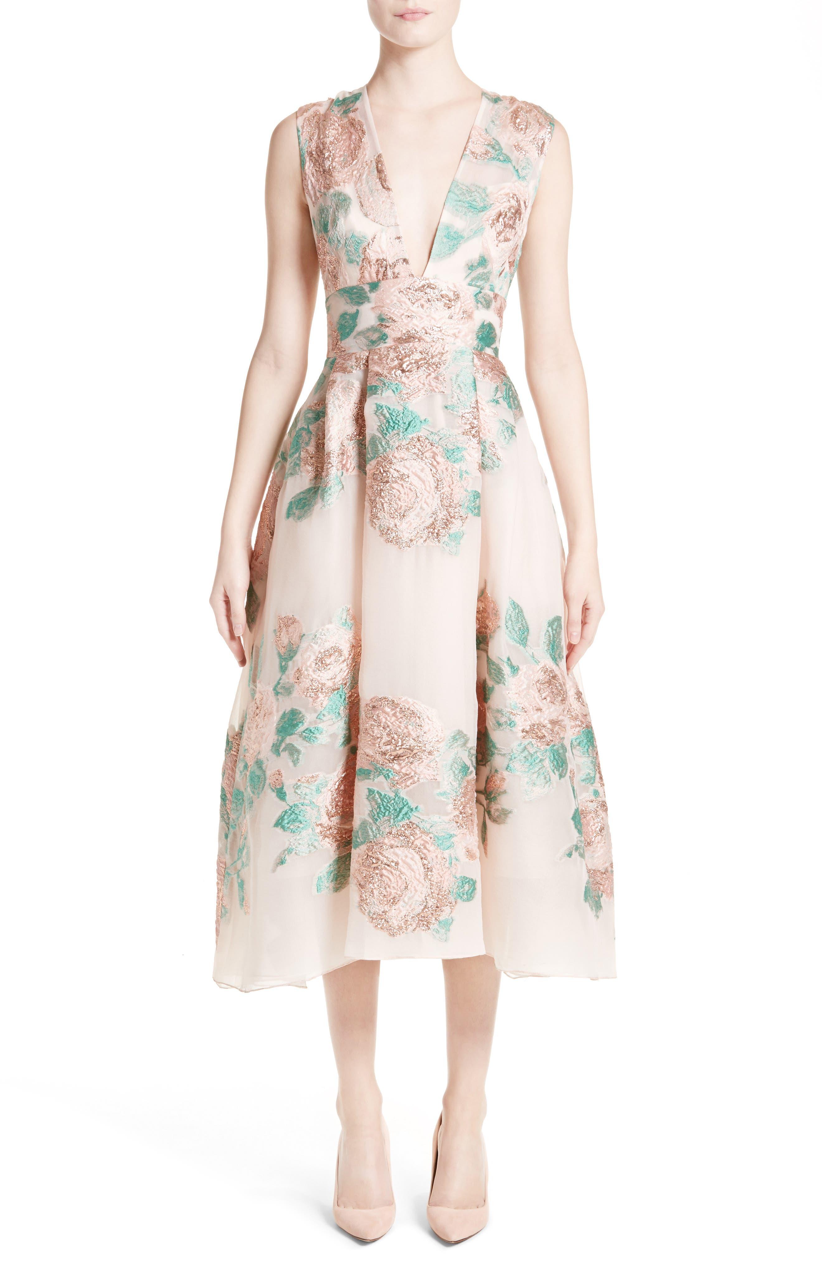 LELA ROSE Floral Jacquard Fil Coupé Dress