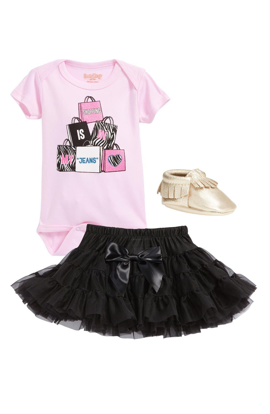 Alternate Image 2  - Sara Kety Baby & Kids 'Shopping Jeans' Short Sleeve Bodysuit (Baby Girls)