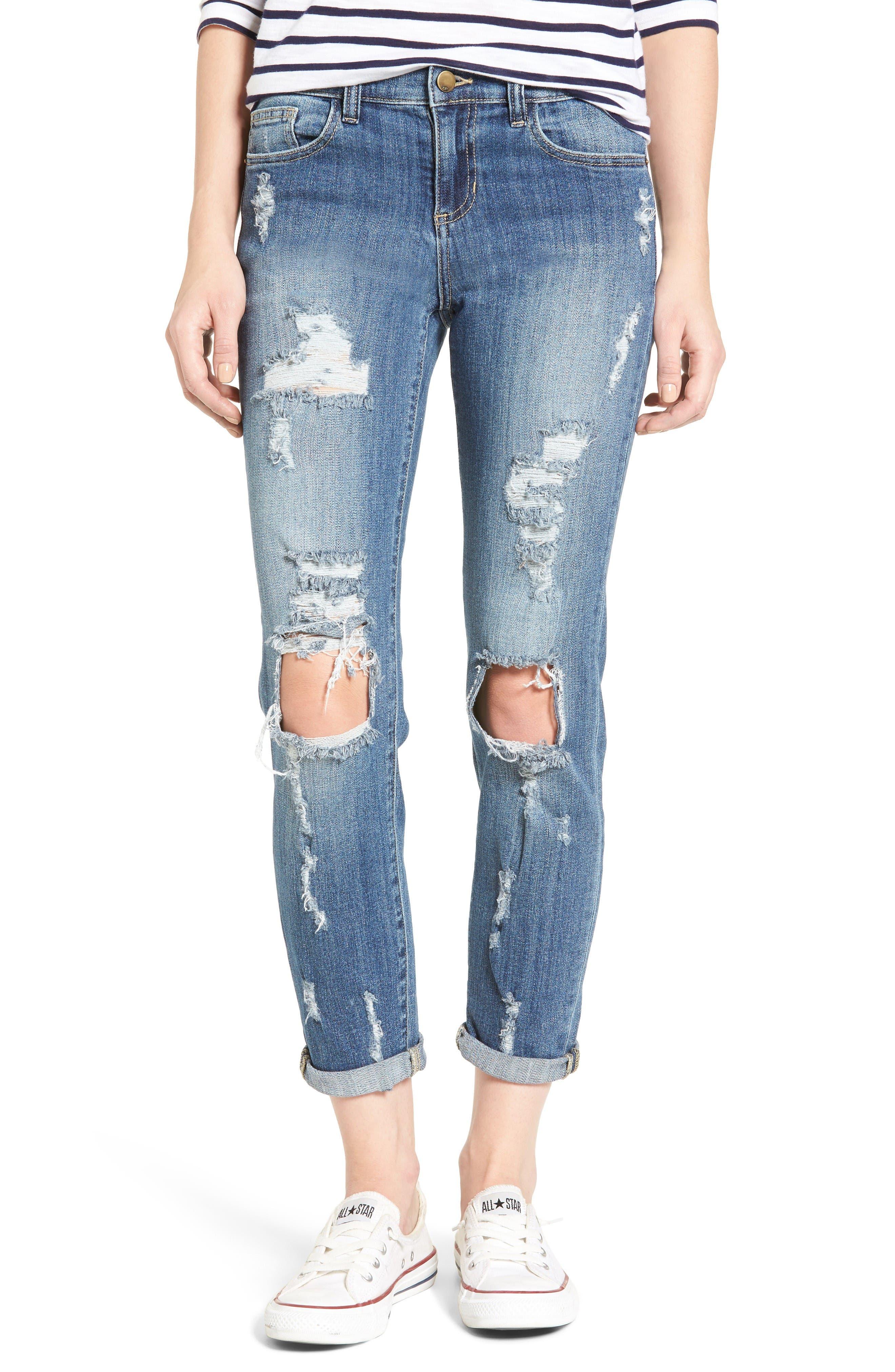 Alternate Image 1 Selected - SP Black Decon Destroyed Boyfriend Jeans