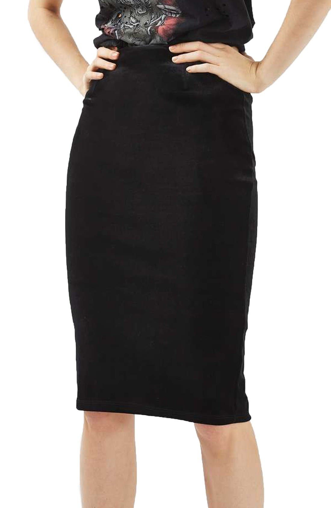 Main Image - Topshop Velvet Pencil Skirt