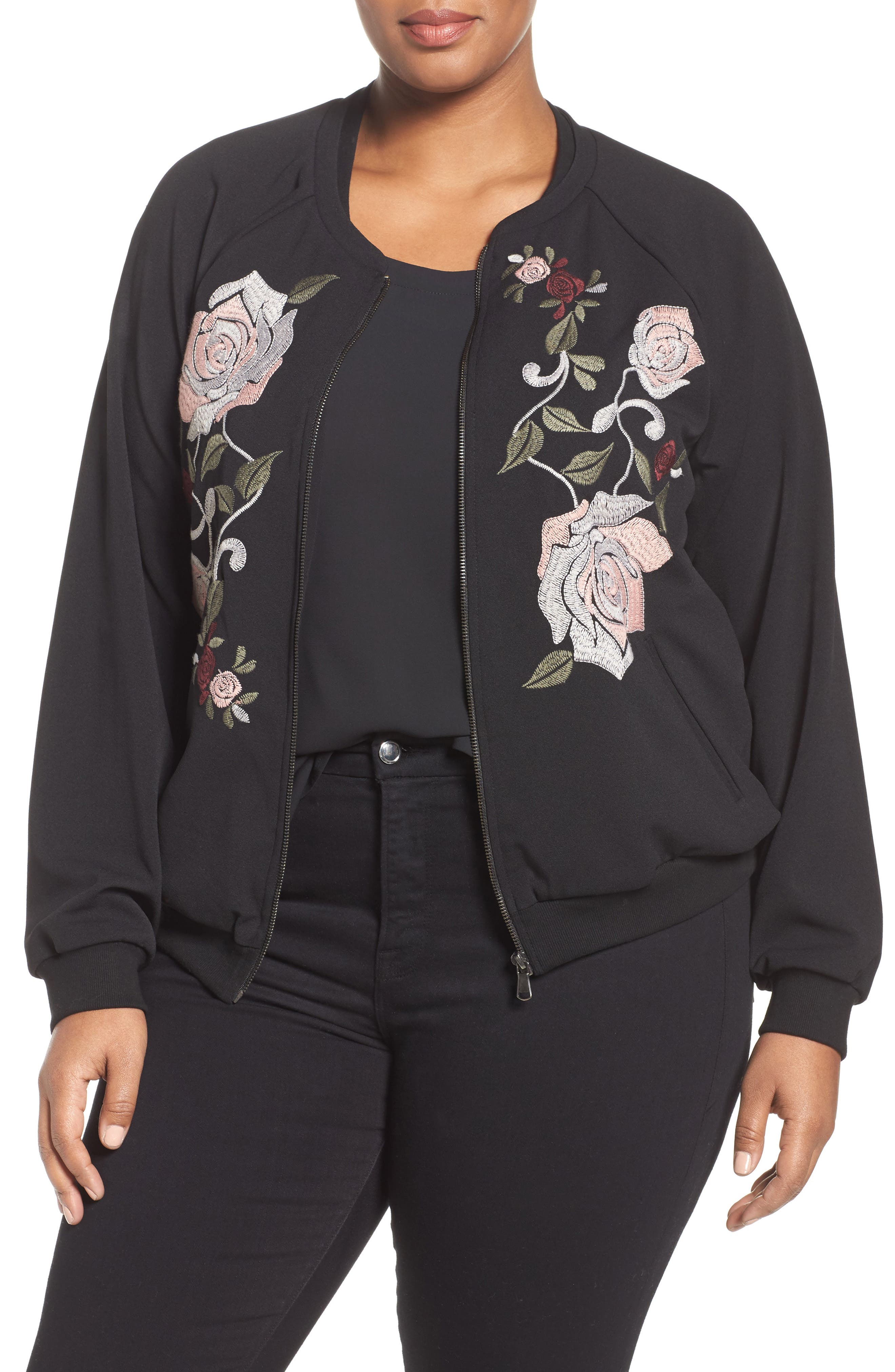 Alternate Image 1 Selected - Democracy Embroidered Bomber Jacket (Plus Size) (Nordstrom Exclusive)