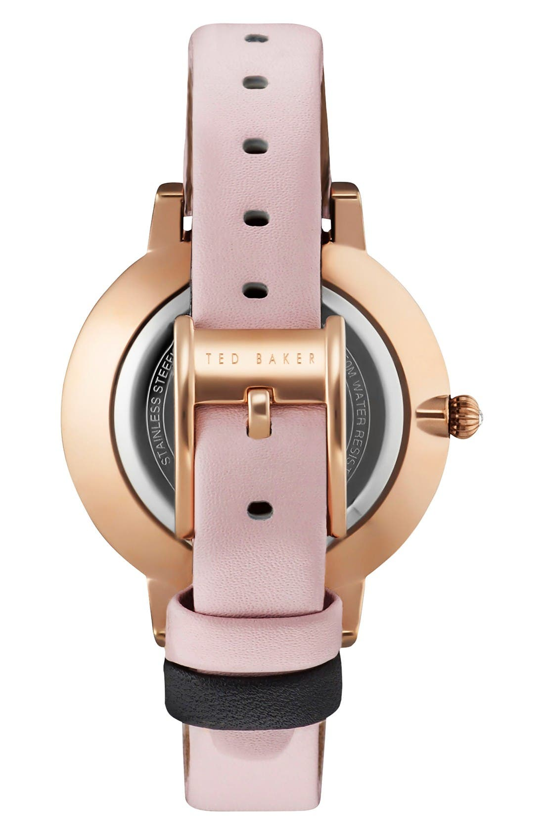 Alternate Image 2  - Ted Baker London Kate Round Leather Strap Watch, 38mm