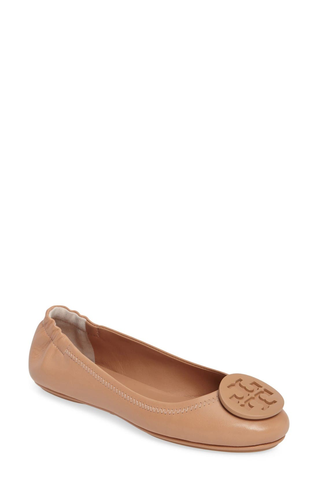 Tory Burch 'Minnie' Travel Ballet Flat with Logo (Women)