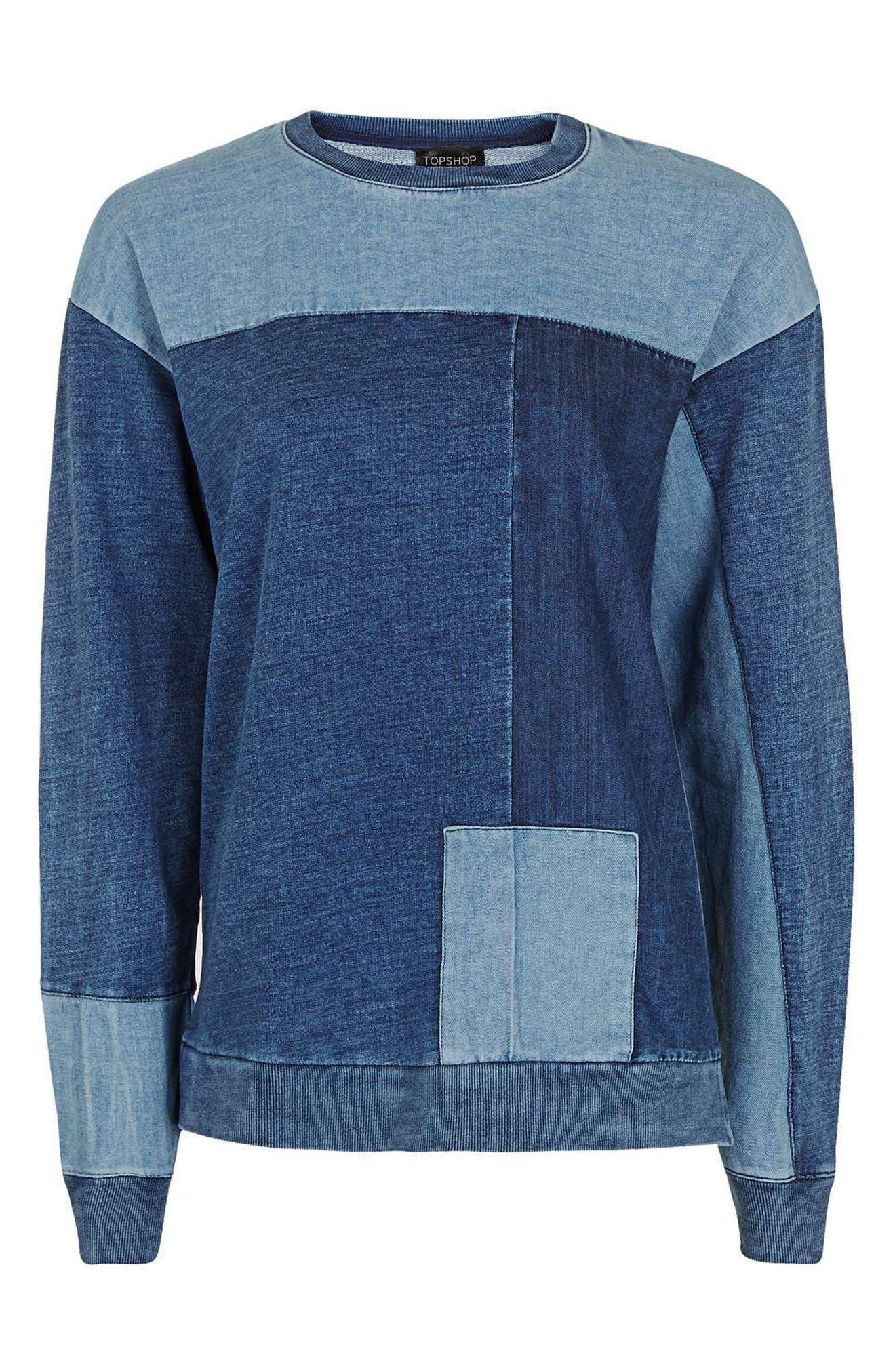 Alternate Image 3  - Topshop Denim Patchwork Sweatshirt
