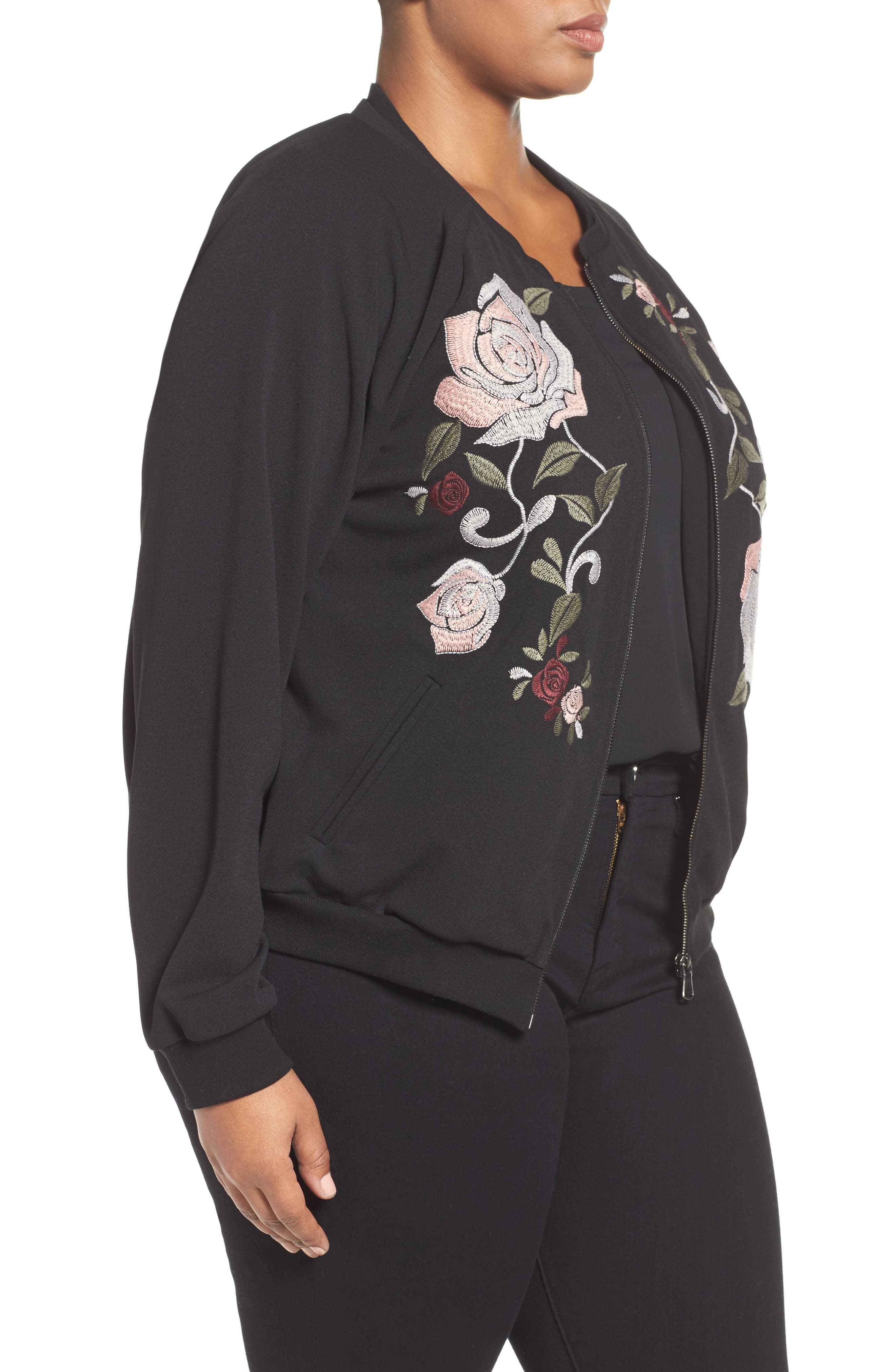 Alternate Image 3  - Democracy Embroidered Bomber Jacket (Plus Size) (Nordstrom Exclusive)