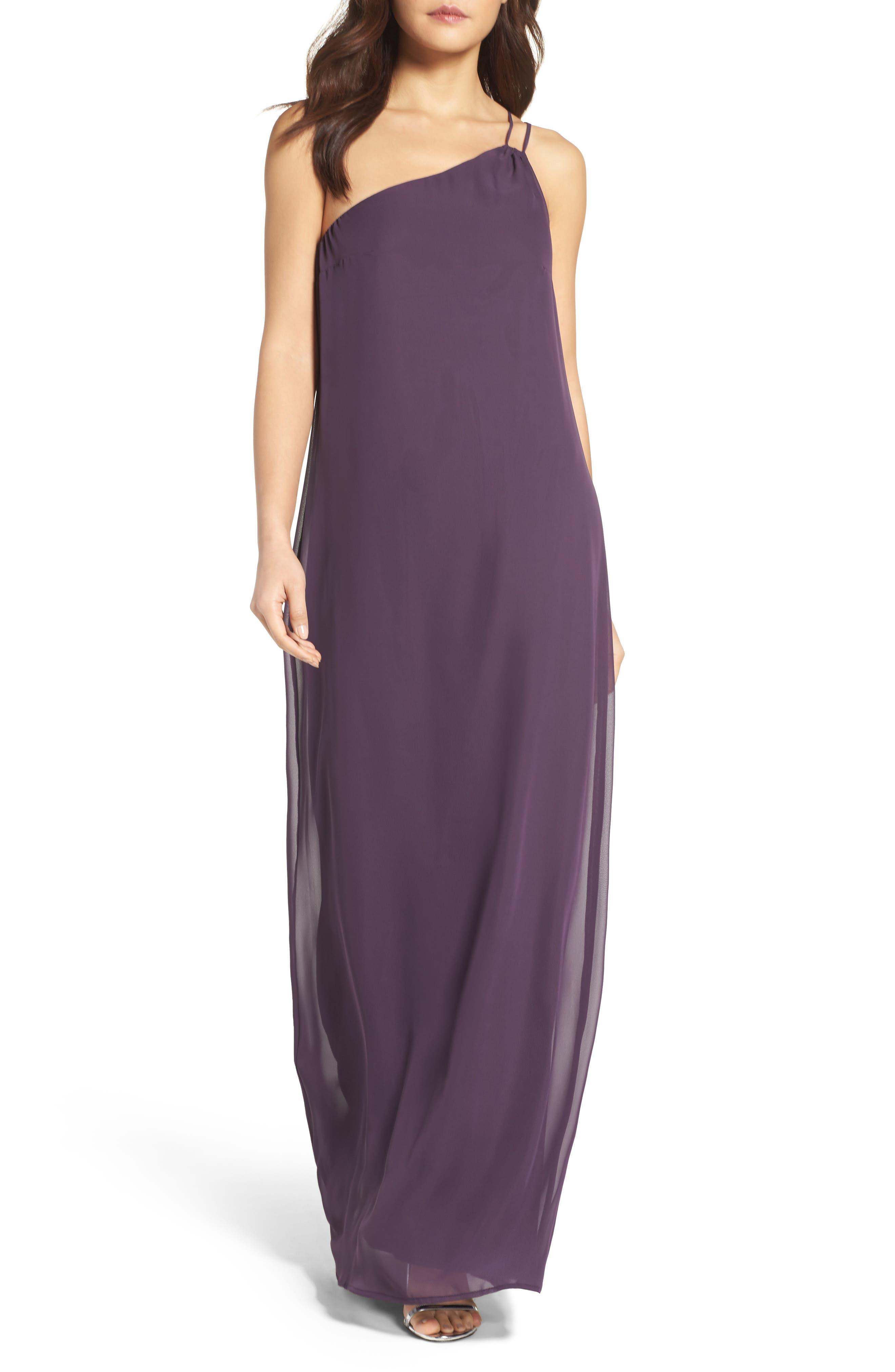 Main Image - nouvelle AMSALE Hadley One-Shoulder Chiffon Gown