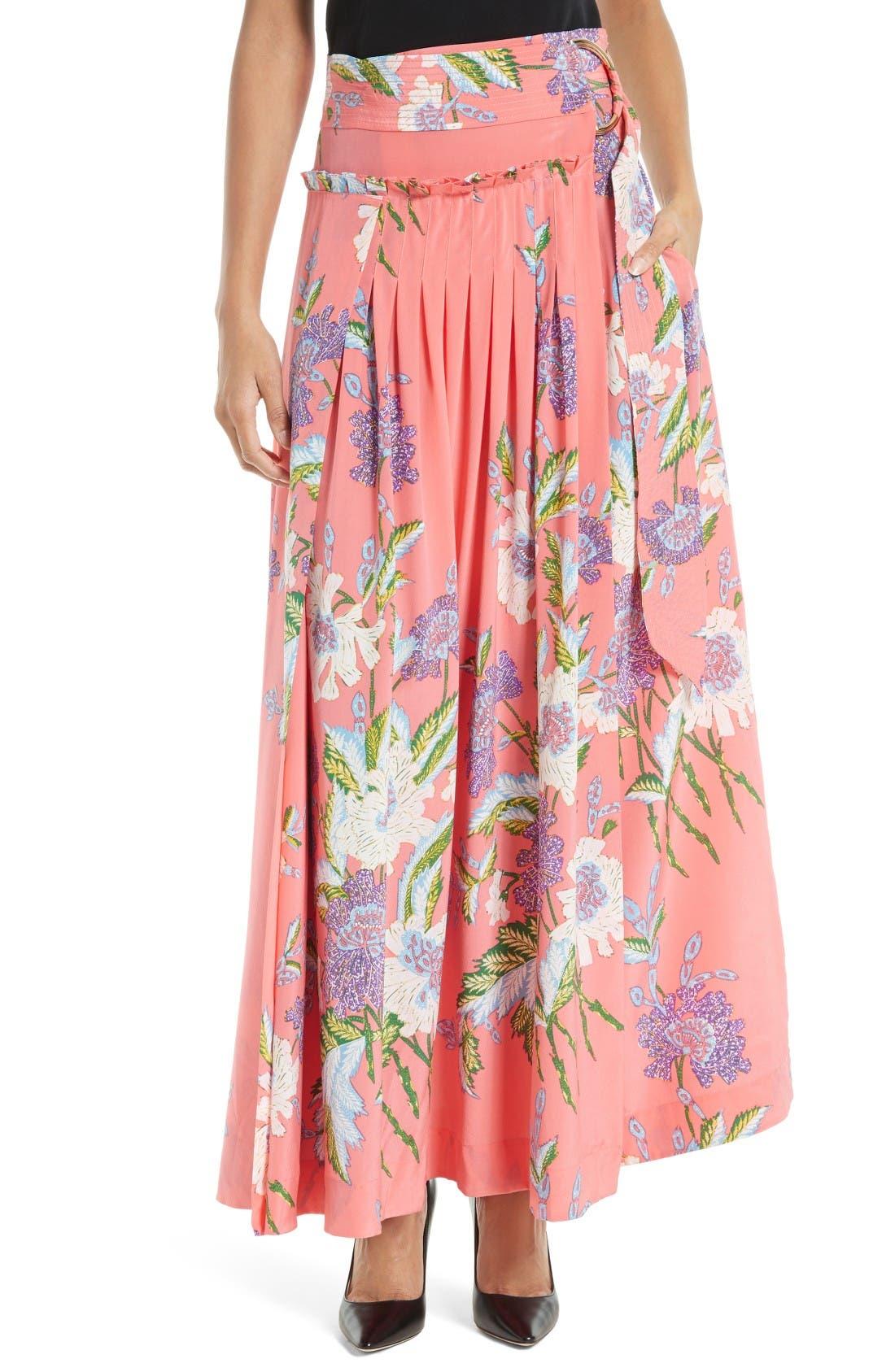 DIANE VON FURSTENBERG Floral Silk Midi Skirt
