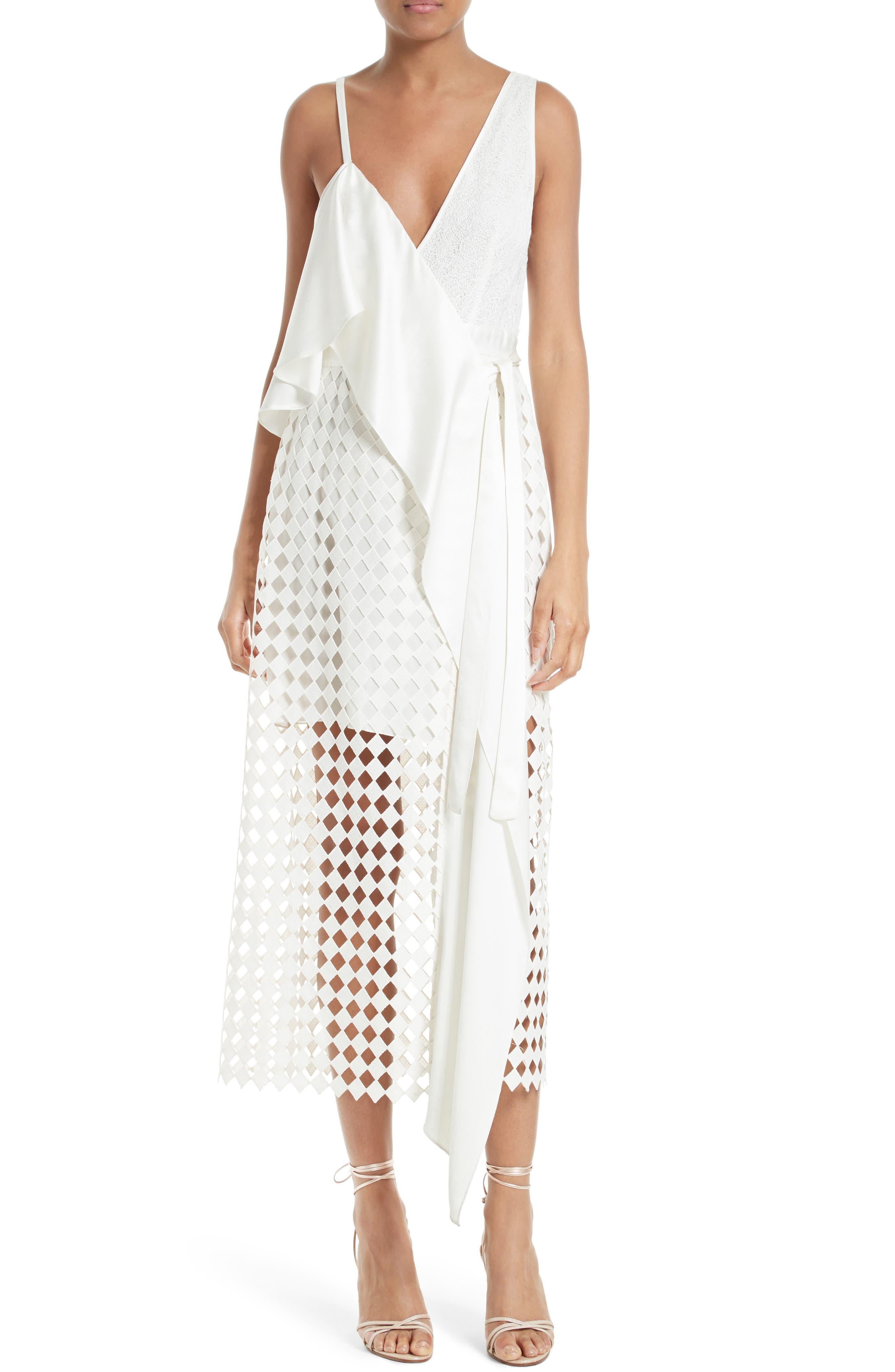Main Image - Diane von Furstenberg Asymmetrical Ruffle Mixed Media Wrap Dress