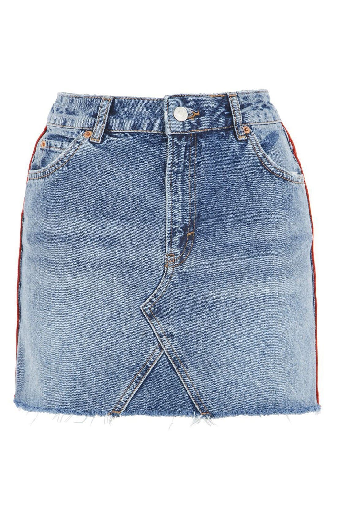 Alternate Image 4  - Topshop Stripe Side Denim Miniskirt