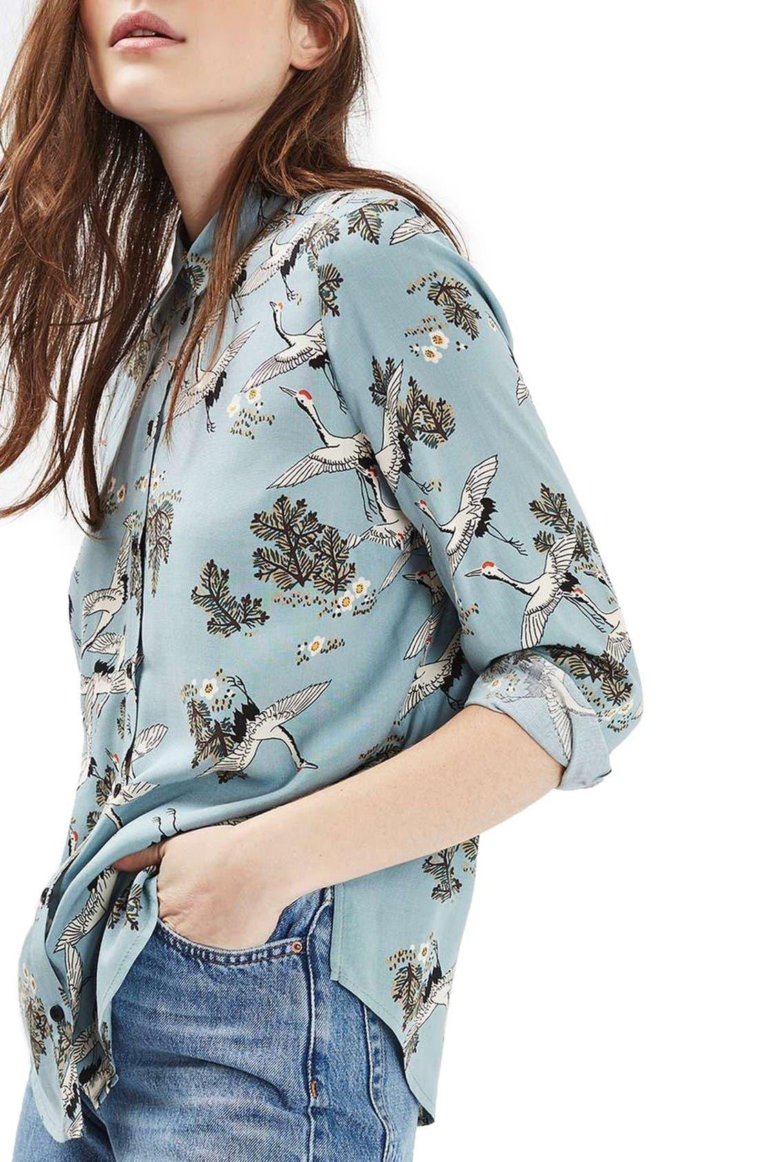 Main Image - Topshop Birds in Flight Print Shirt