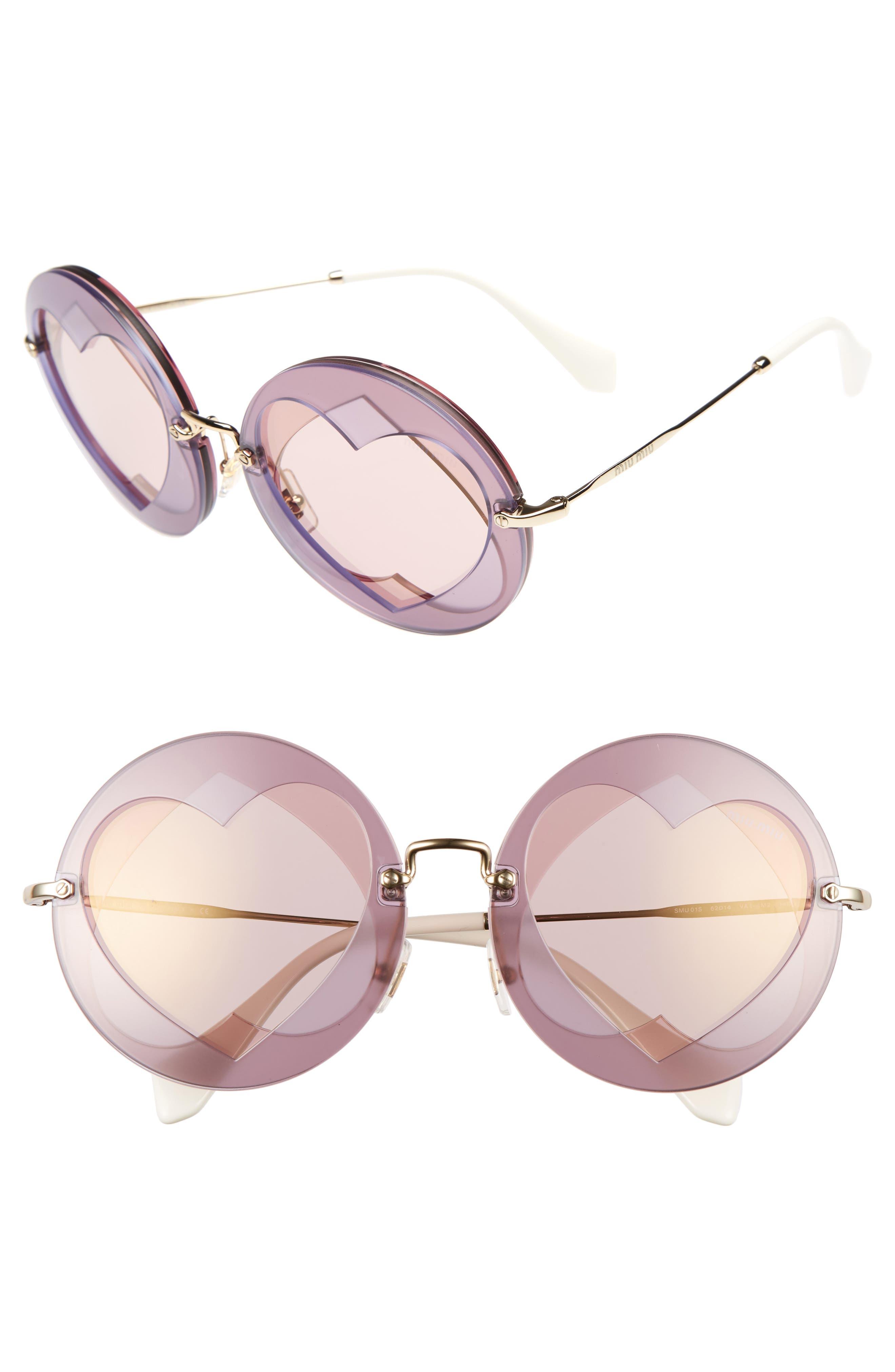 Alternate Image 1 Selected - Miu Miu 62mm Heart Inset Round Sunglasses