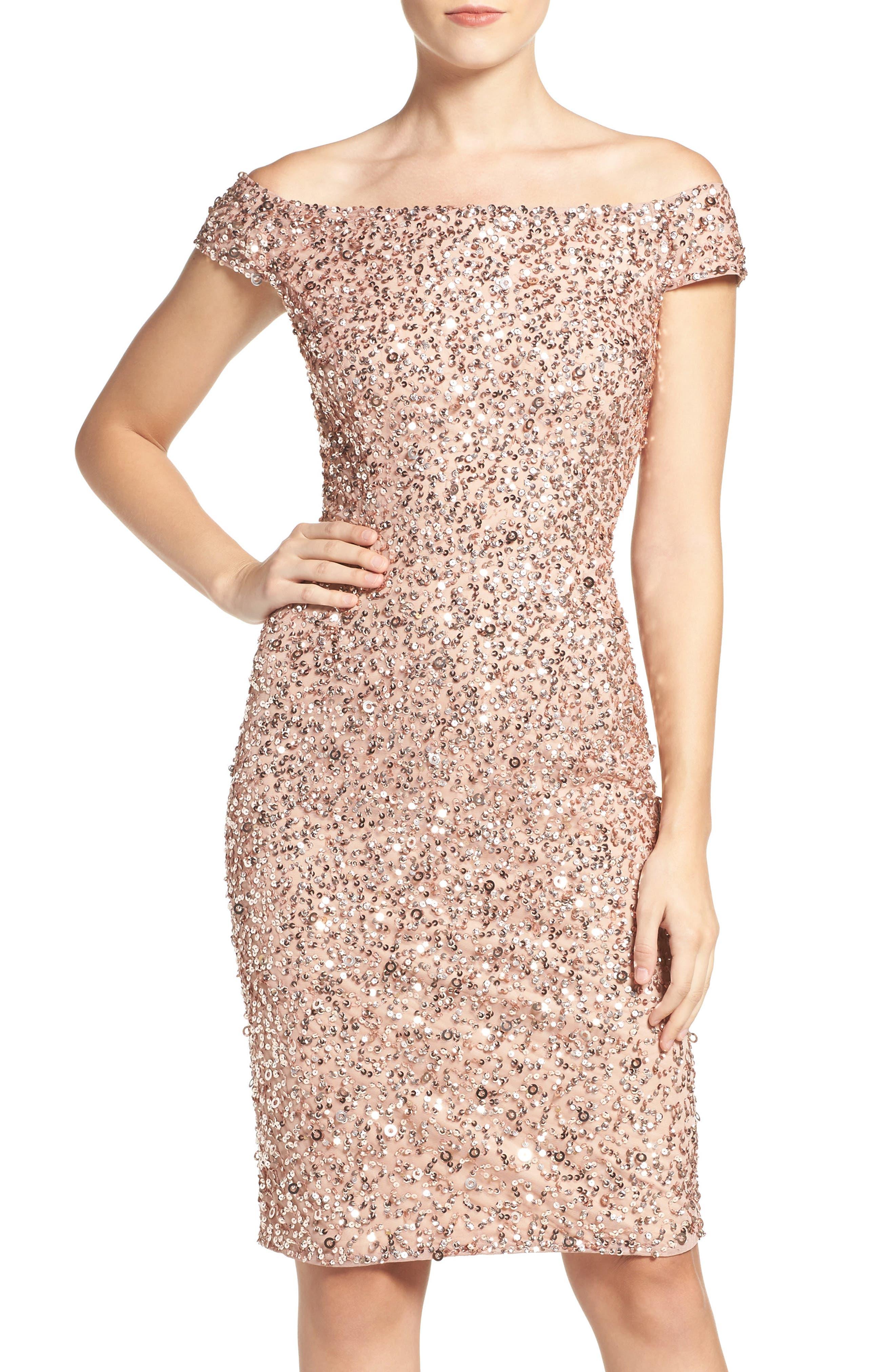 Adrianna Papell Off the Shoulder Sequin Sheath Dress (Regular & Petite)