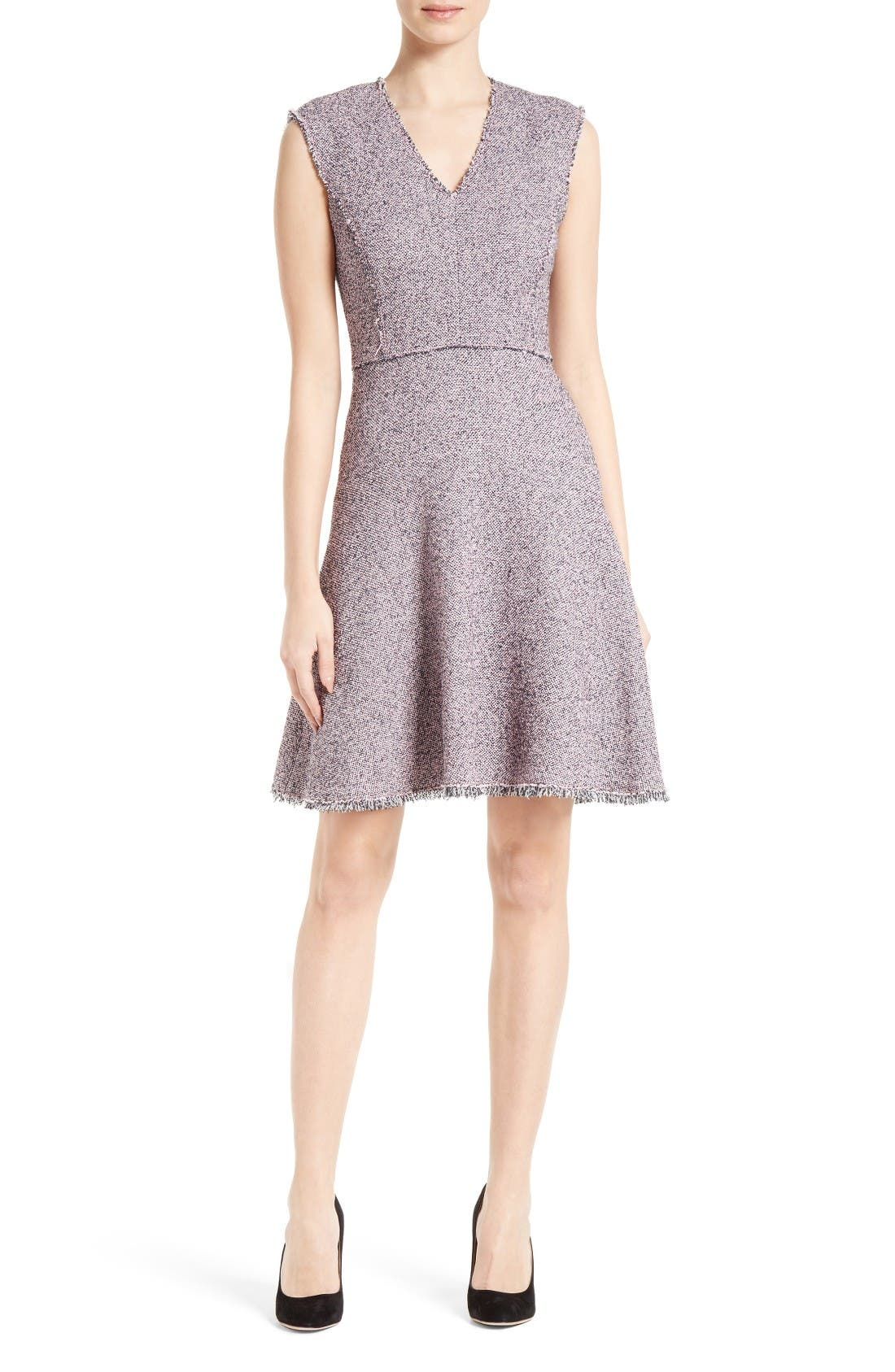 Alternate Image 1 Selected - Rebecca Taylor Stretch Tweed Fit & Flare Dress