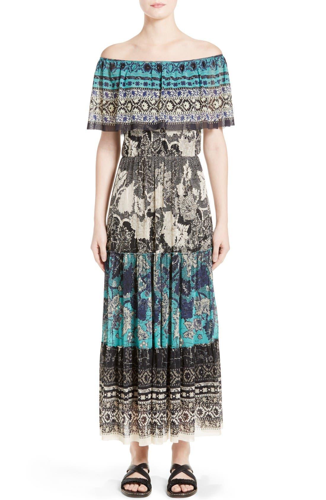 FUZZI Off-the-Shoulder Batik Maxi Dress