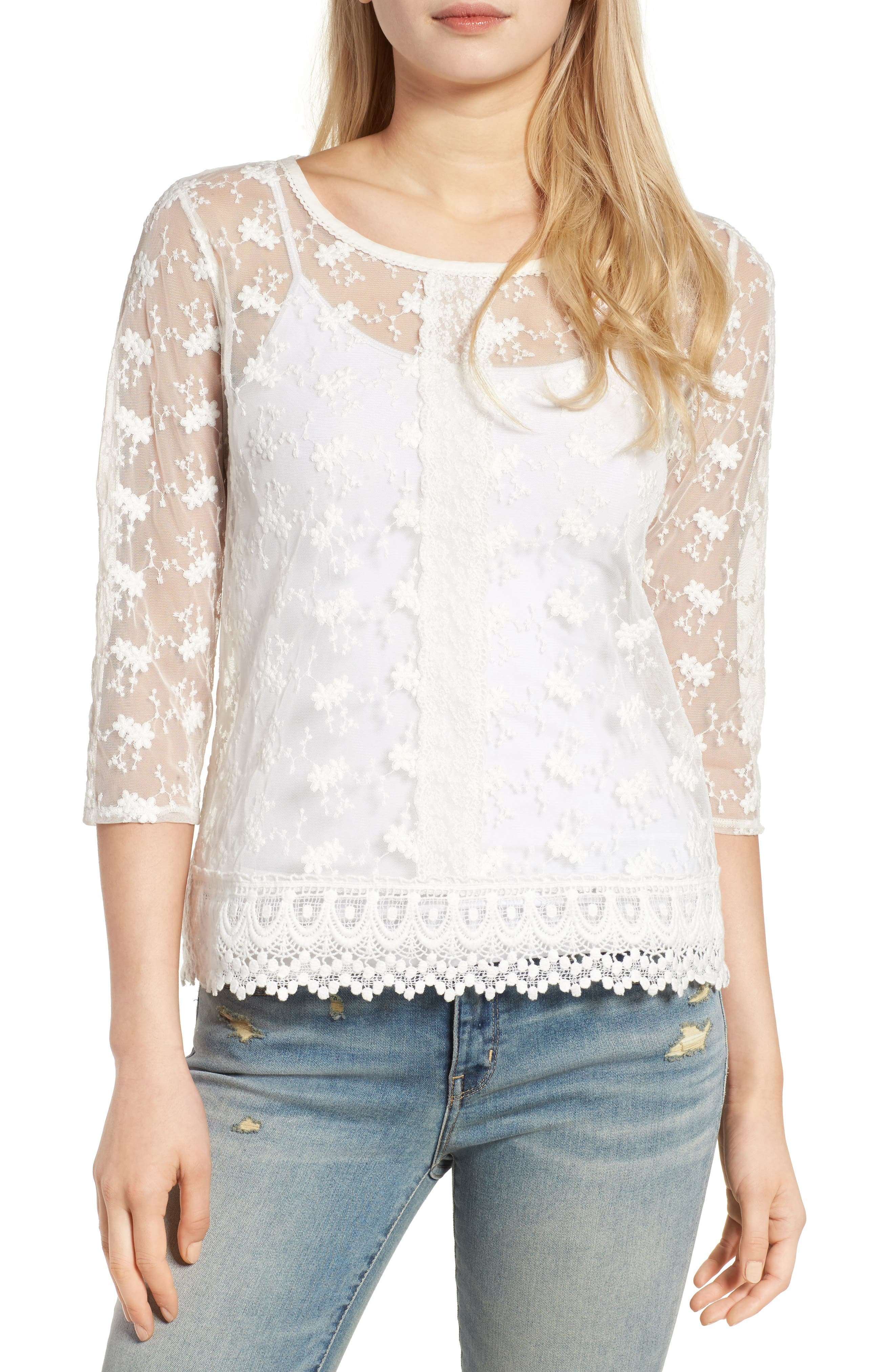 HINGE Embroidered Mesh Top