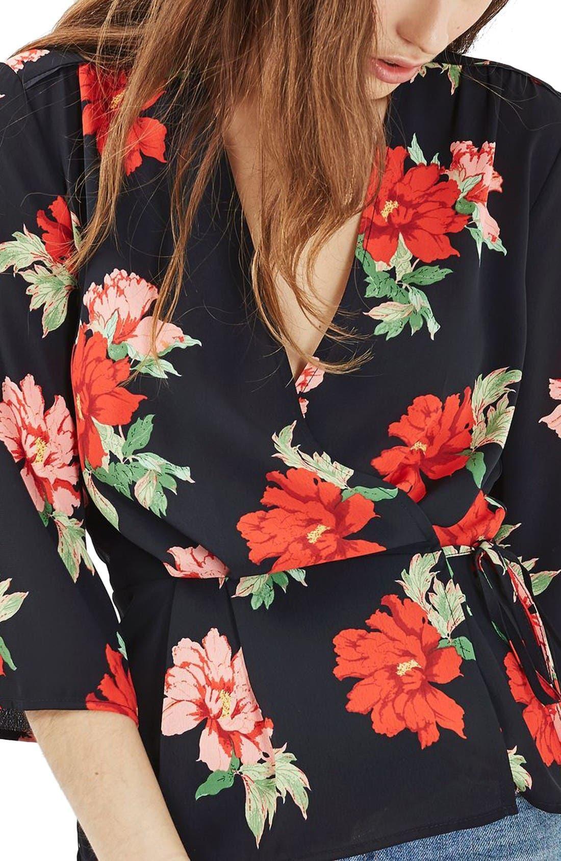 Alternate Image 6  - Topshop Rita Floral Wrap Top