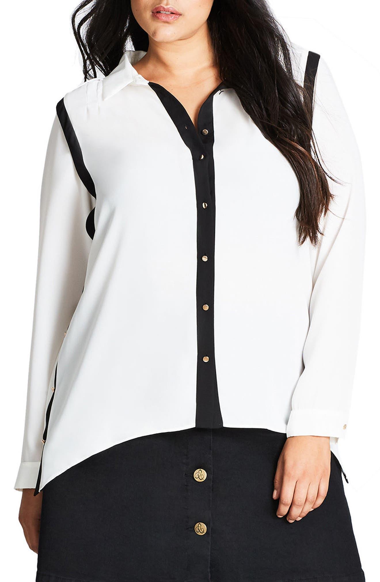 City Chic Miss Mod High/Low Shirt (Plus Size)