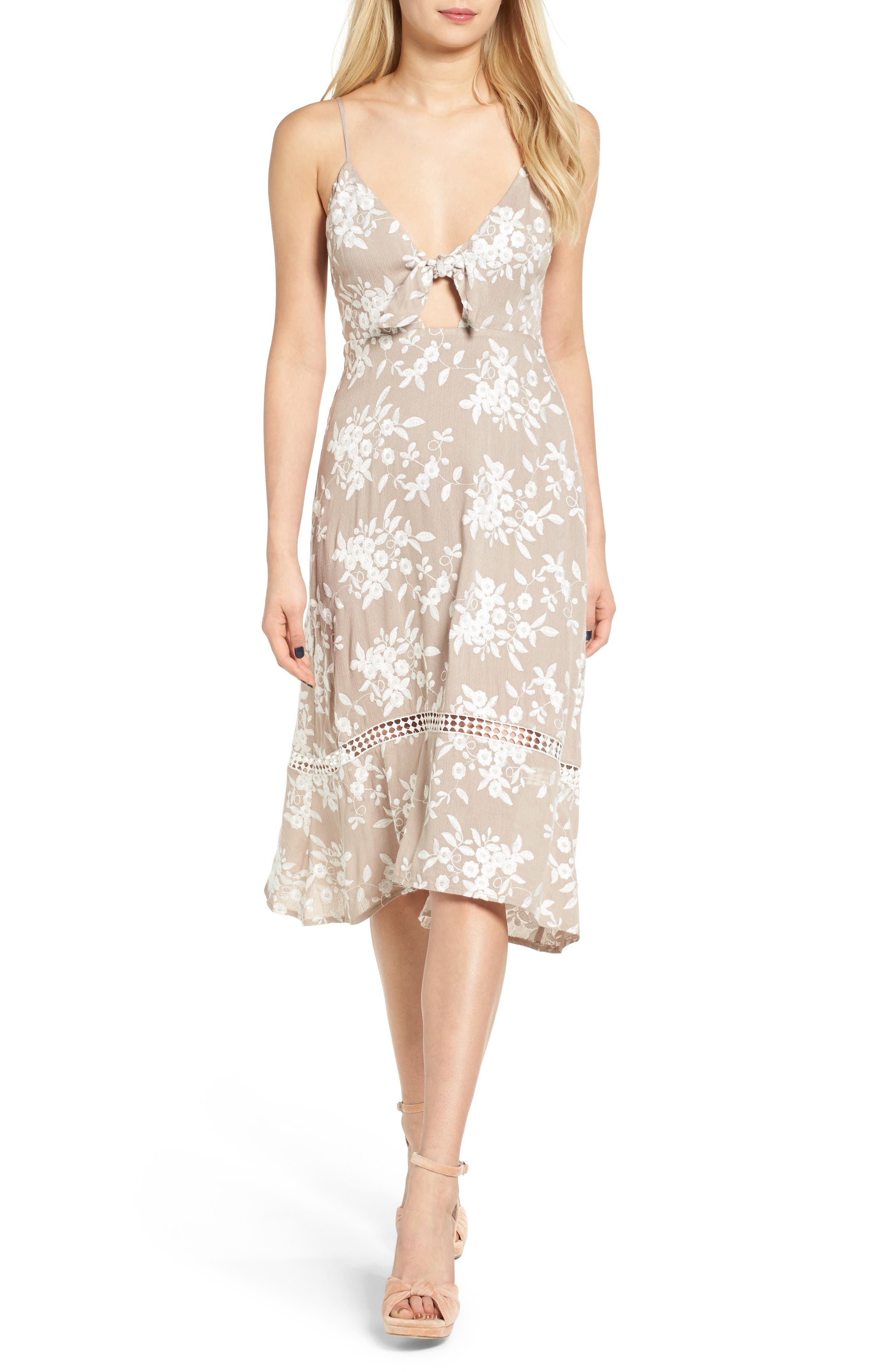 Alternate Image 1 Selected - ASTR the Label Embroidered Tie Front Dress
