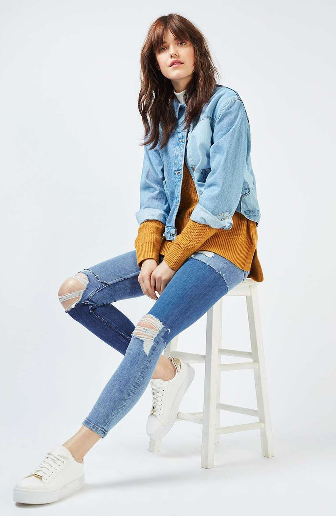 Alternate Image 2  - Topshop Moto Jamie Rip Panel Skinny Jeans